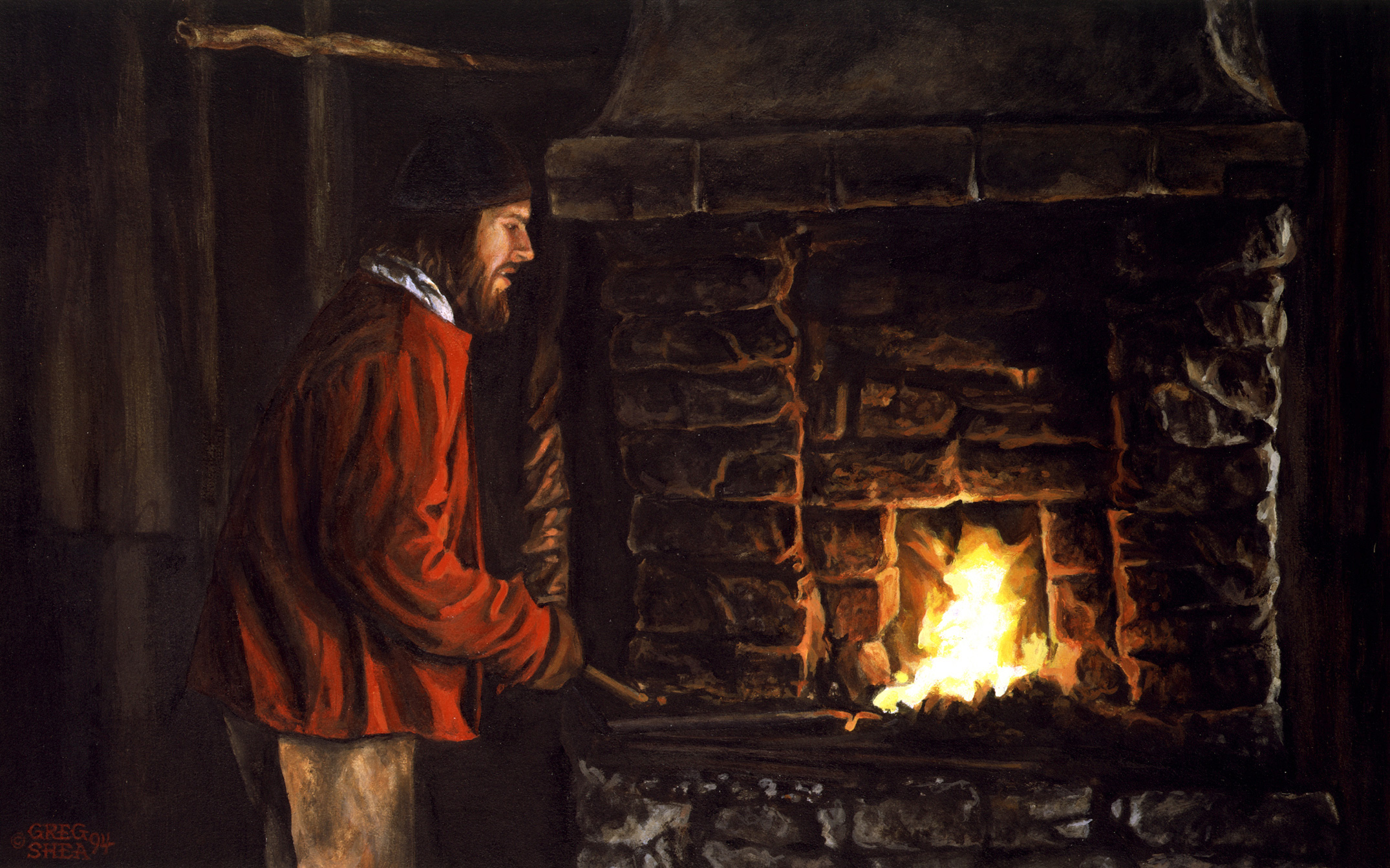 "The Blacksmith  , Illustration, 1994. Acrylic on board, 9 1/4 x 14 3/4"". Collection of the artist."