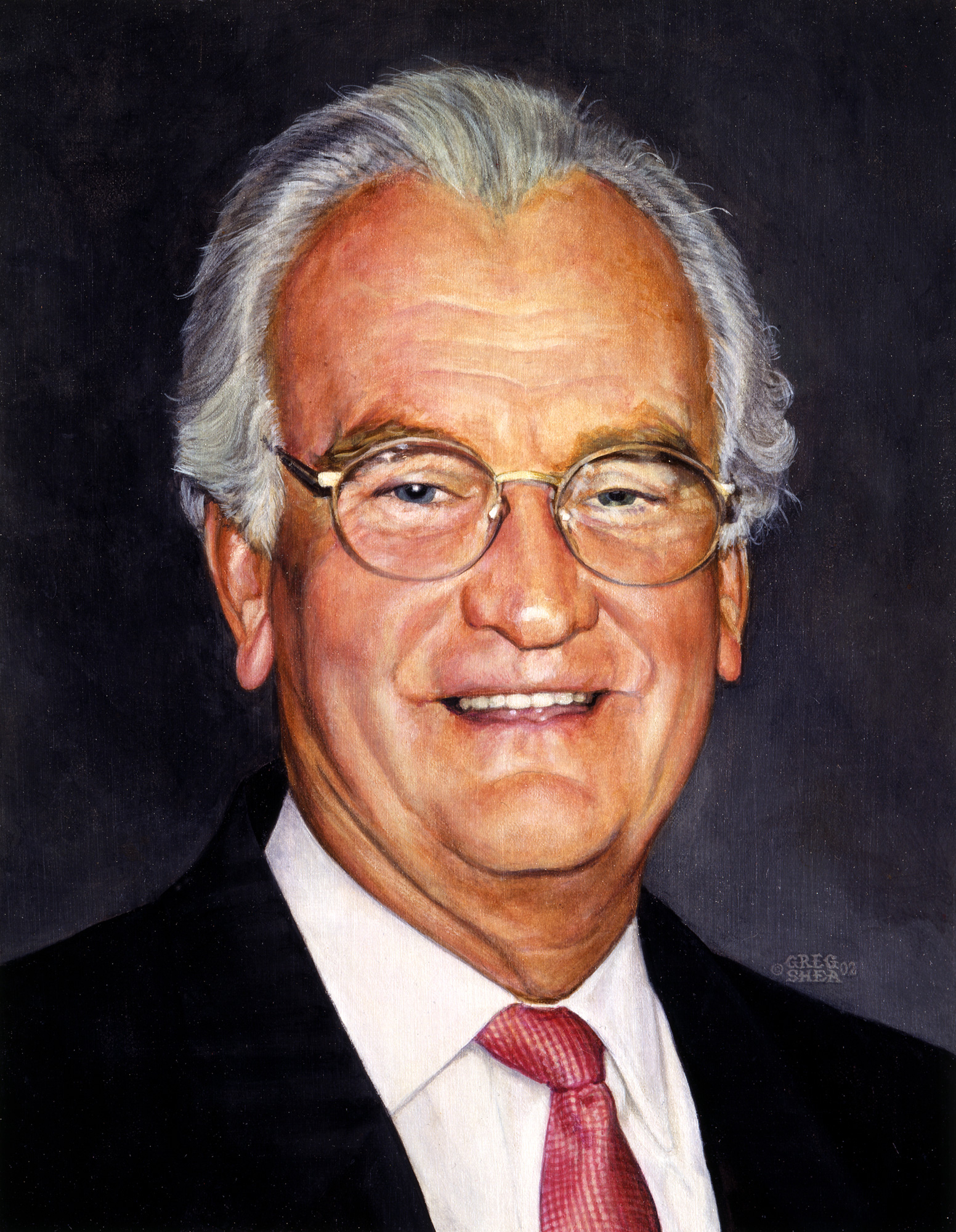 R. Kinley  , portrait commission, 2002  .   Acrylic on board.     Private collection  .