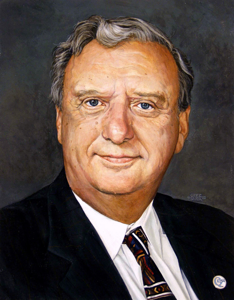 W.     Harbour  , portrait commission, 2002  .   Acrylic on board.     Private collection  .