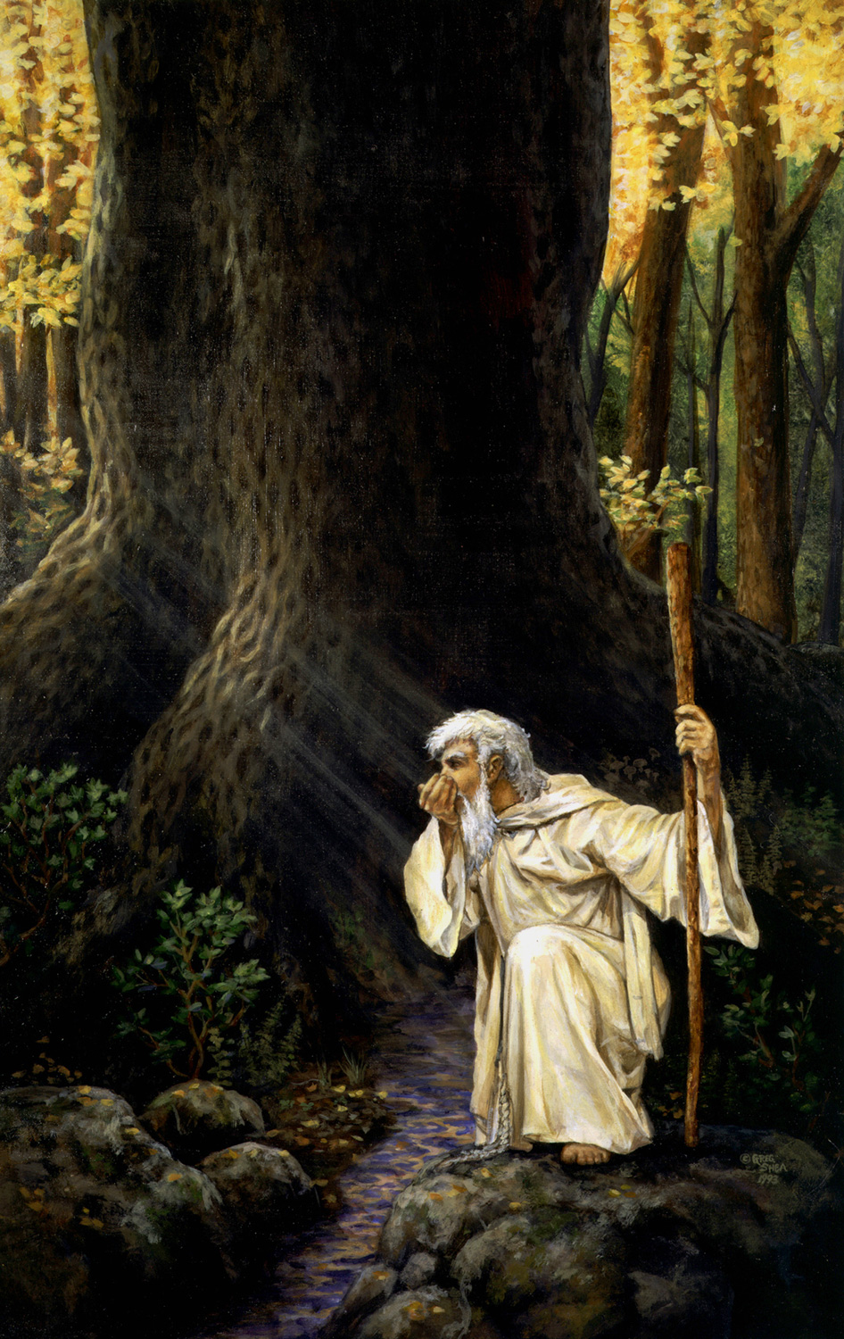 "Odin At The Spring  , Illustration, 1993. Acrylic on board,16 3/4 x 26"". Collection of the artist."