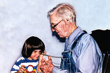 Listening to Great Grandpa's Pocket Watch  , portrait commission, 1996  .   Acrylic on board.     Private collection  .