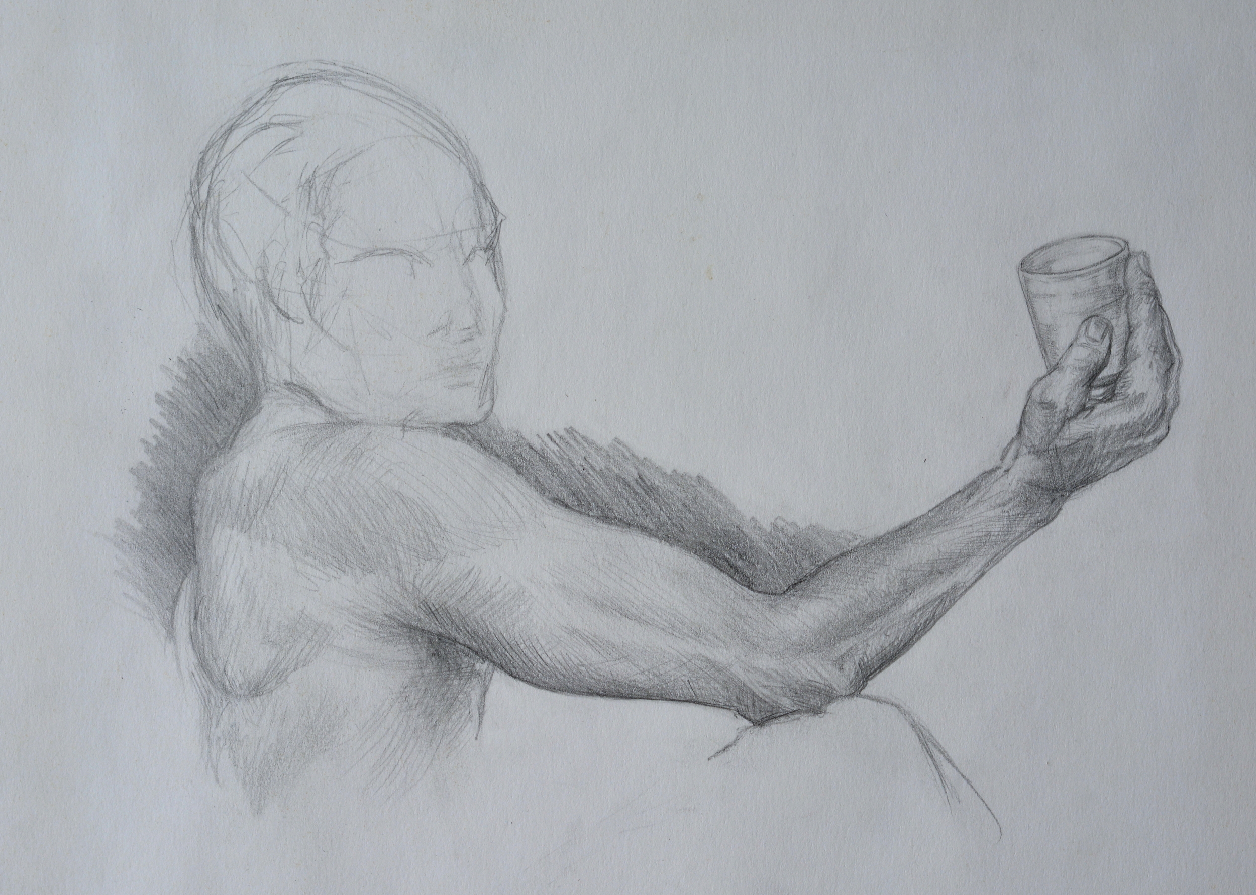 Holding A Cup  , study. 1992. Graphite on paper. Available for purchase.