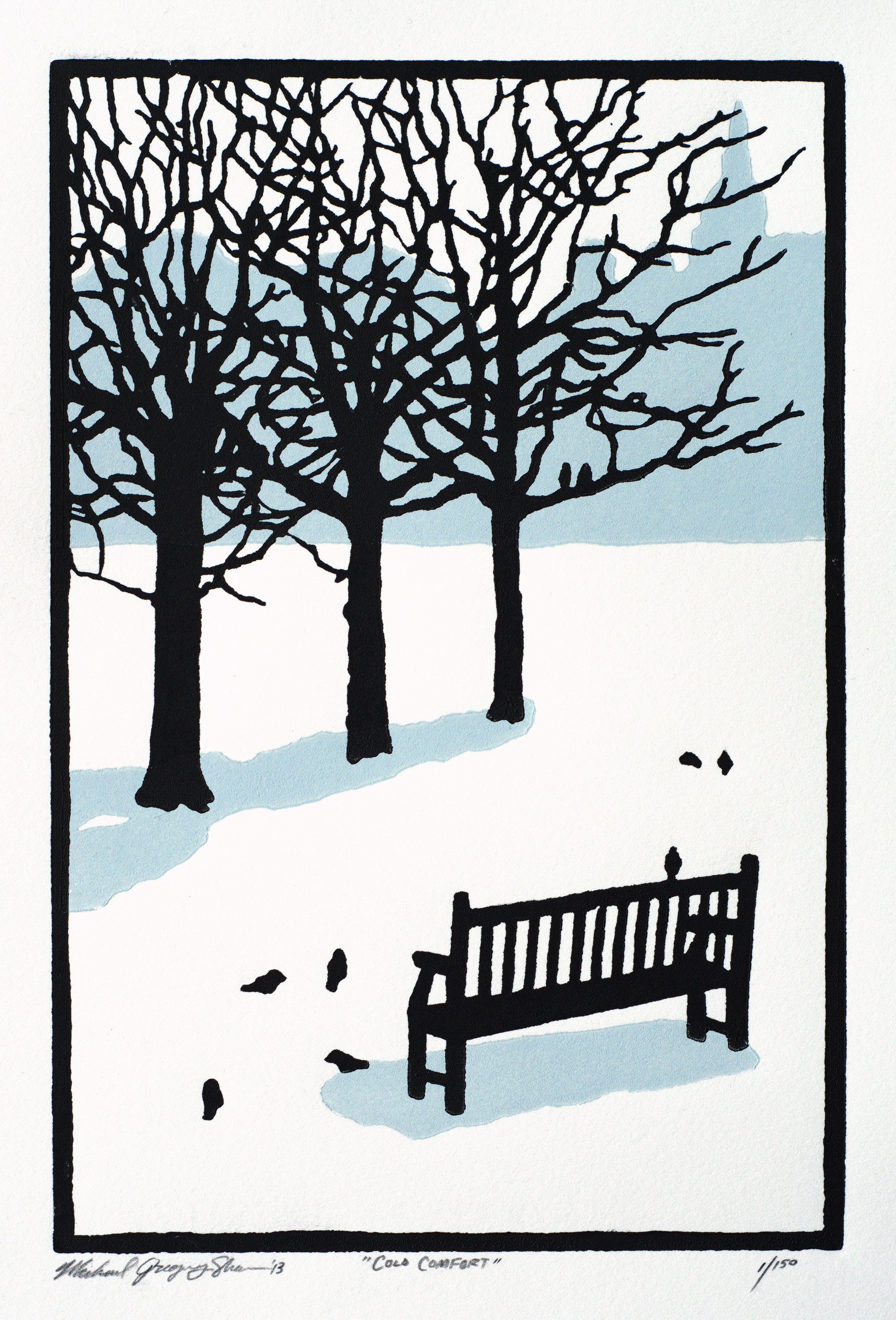 """Cold Comfort  , 2013. Linoleum block print 6 x 9"""", edition of 150.  Sold out."""
