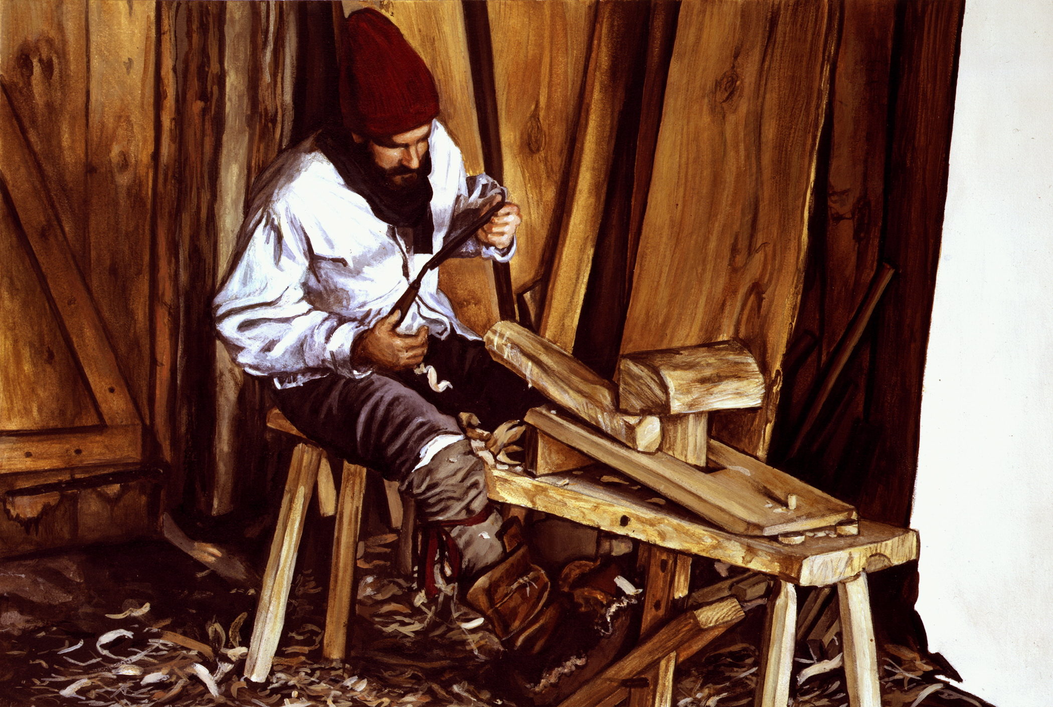 "The Woodworker  , Illustration, 1994. Acrylic on board, 9 1/4 x 14 3/4"". Collection of the artist."