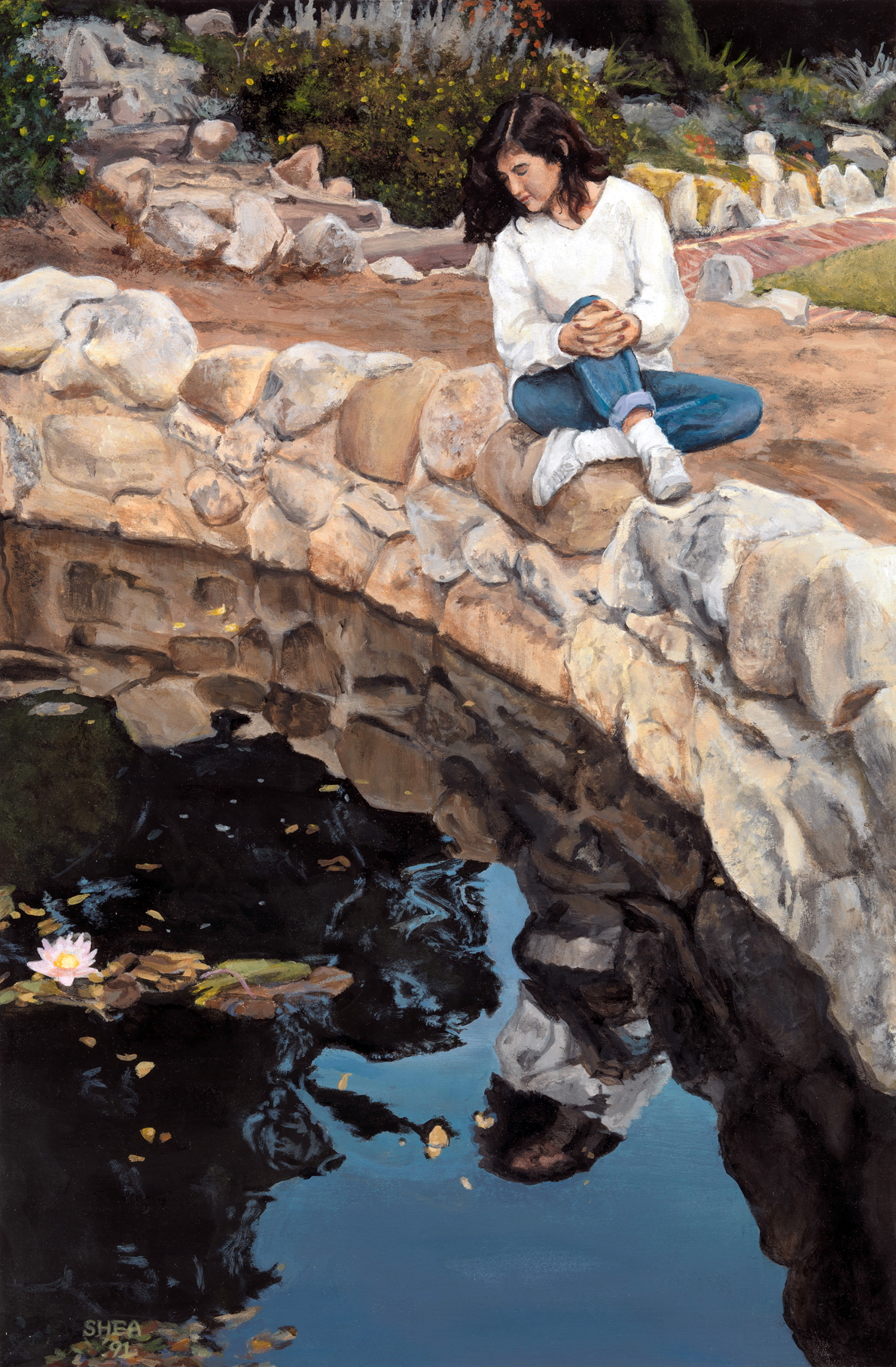 Kim Reflecting  , 1991. Acrylic on board. Private Collection.
