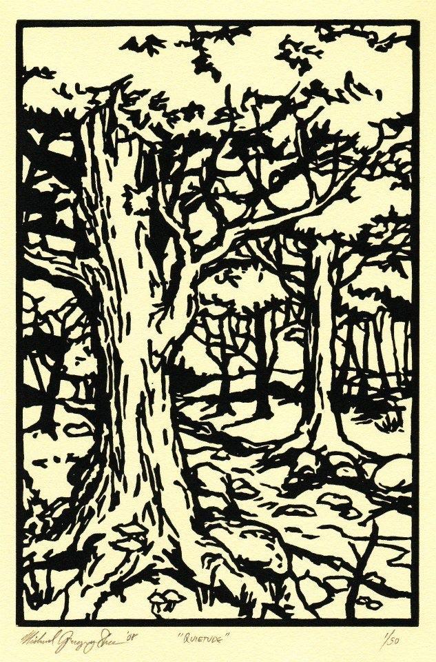 "Quietude  , 2008. Linoleum block print 6 x 9"", edition of 50.  Sold out."