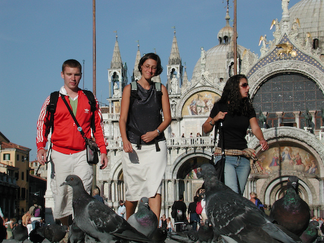 Students in San Marco Square, Venice