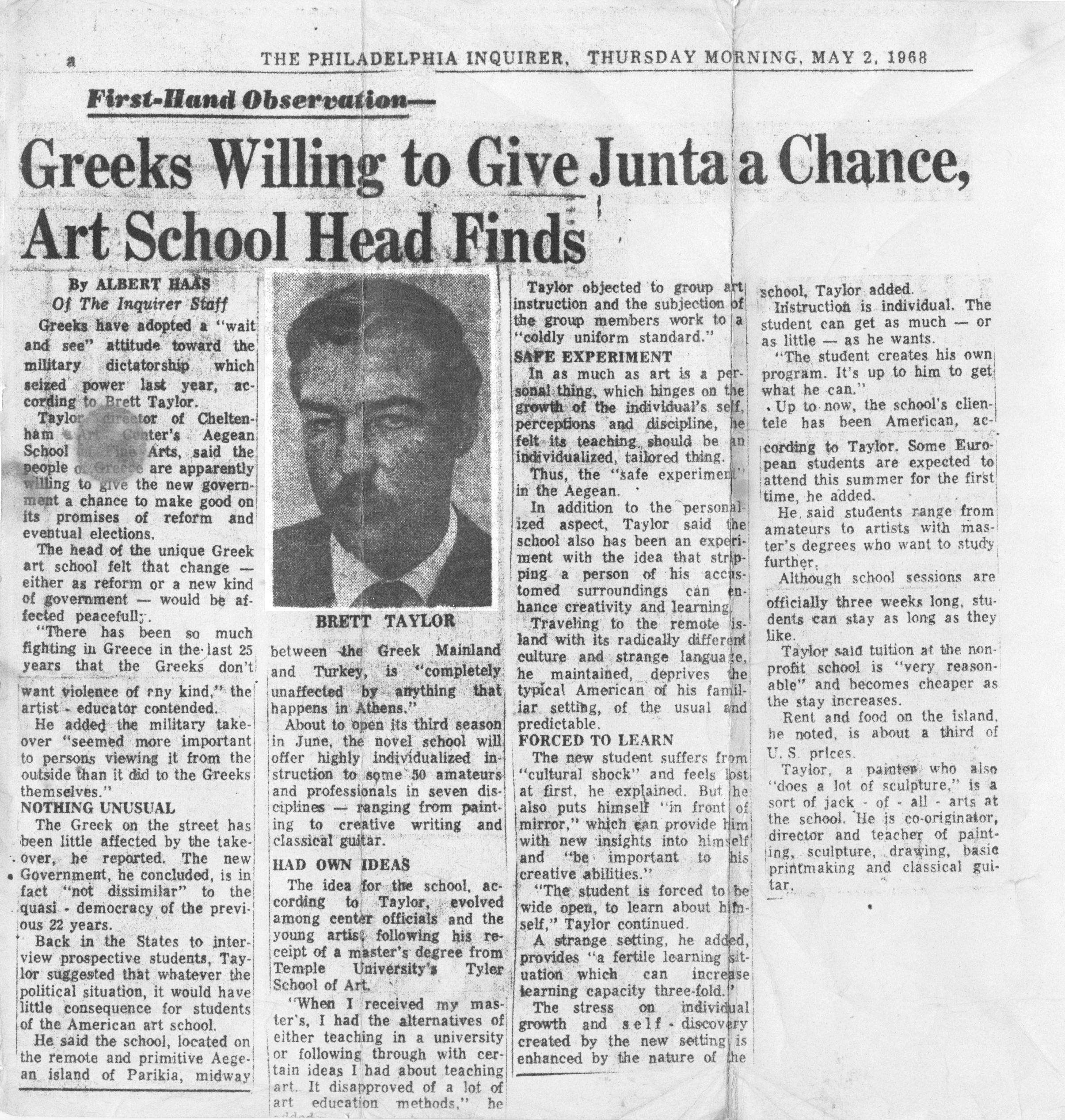 A newspaper clipping from the Philadelphia Inquirer dated May 2, 1968 in which Brett Taylor is interviewed about the Greek Junta and its effects on school enrollment.