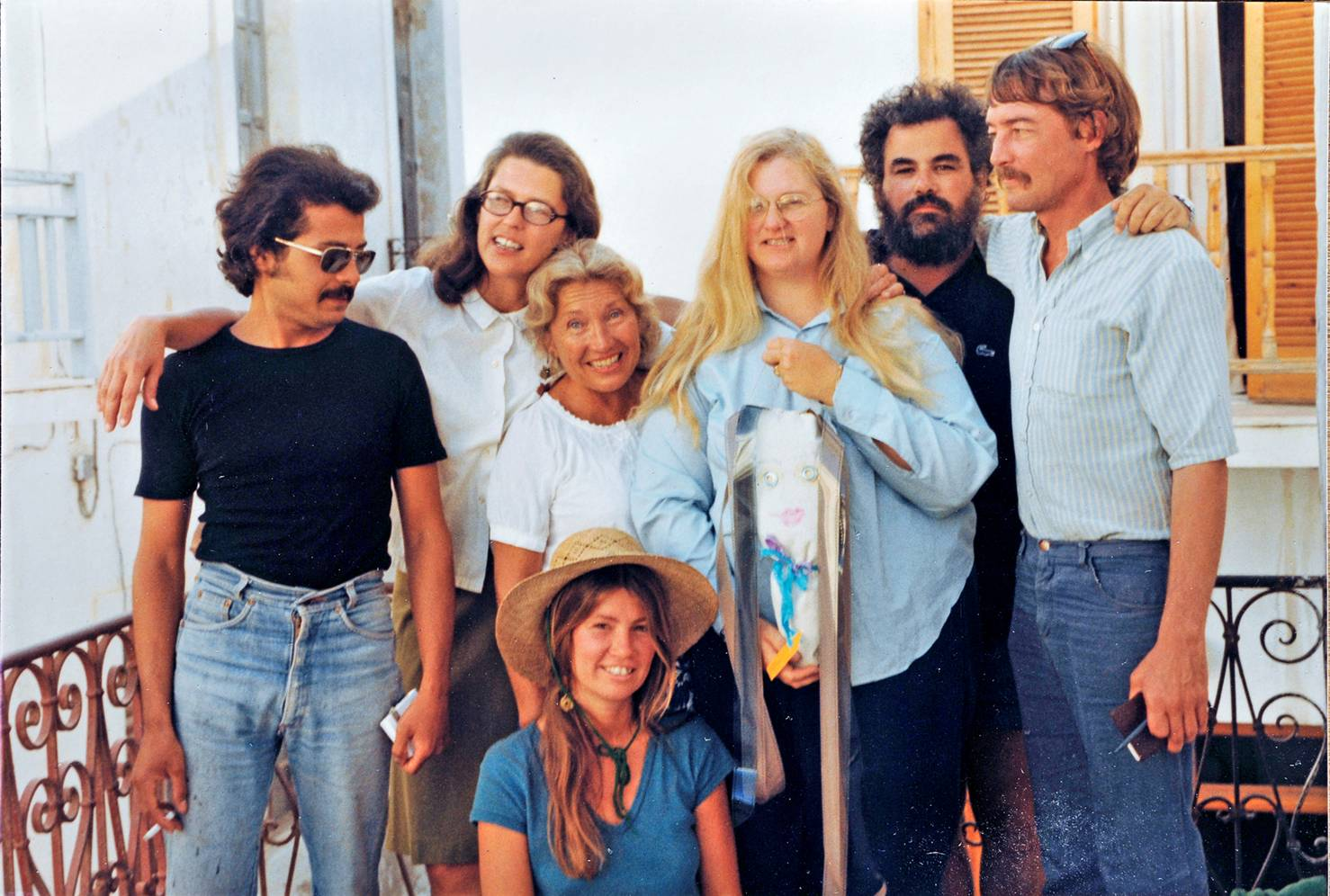 The Aegean School faculty in 1980, of Nick Loucas (painting teacher), Gail Wetzel (printmaker and administration), Gretchen Kiener (student), Elizabeth Carson (photography teacher), Jeffrey Carson (creative writing teacher), and Brett Taylor (director).