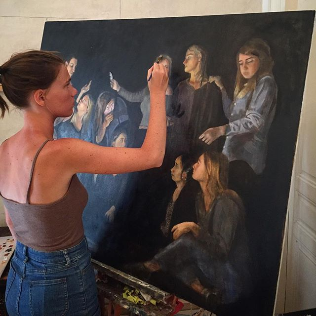 Last touches on the group painting finishing just in time for the exhibition on Saturday. #aegeancenter #paros #greece #painting #exhibition #groupeffort #studyabroad #artschool #studyart