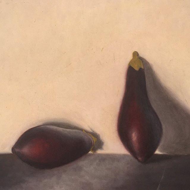 Painting by Nona Morse. #aegeancenter #studyart #student #islandlife #studyabroad #studentwork #st#artschool #oilpainting #eggplant #light #food
