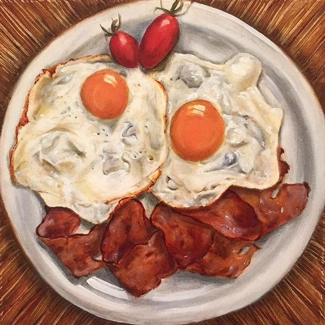 Oil painting by Chow Shan Shan. #aegeancenter #studentwork #islandlife #artschool #food #oilpainting #oils #baconandeggs #stilllife #artschool @shansquare89