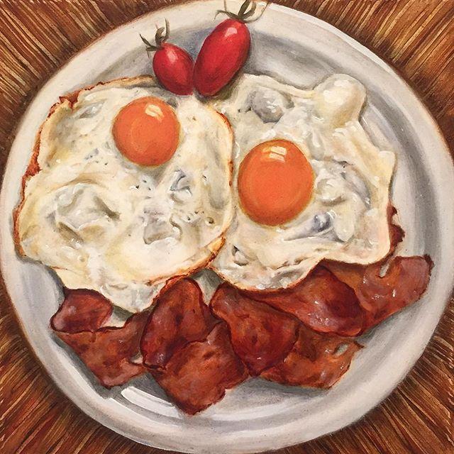 Oil painting by Chow Shan Shan. #aegeancenter #studentwork #islandlife #artschool #food #oilpainting #oils #baconandeggs #stilllife #artschool @shansquare89