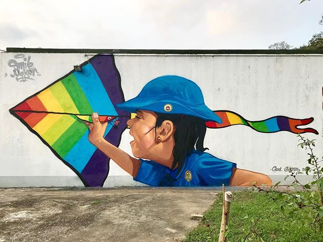 希望一眾女童軍將你地既精神帶到世界每個角落! @hkgirlguides_official #motana94 #94 #girl #girlpower #graffiti #streetart #art #color #rainbow