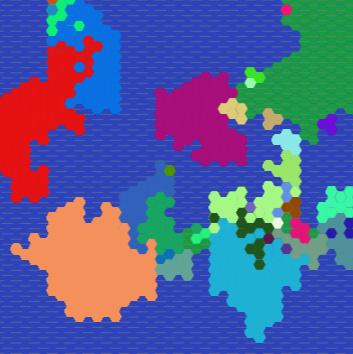 github - A proof-of-concept for a Civ-style game.Cultures spread based on six underlying genes using a simplistic genetic algorithm.They spread more quickly near water.