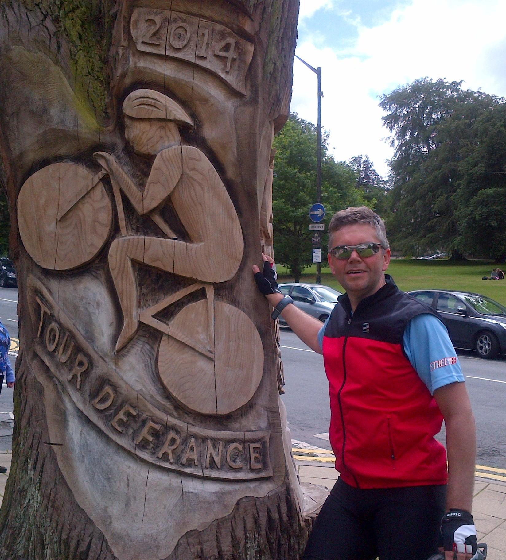 John at the Tour de France stage 1 finish line in Harrogate.