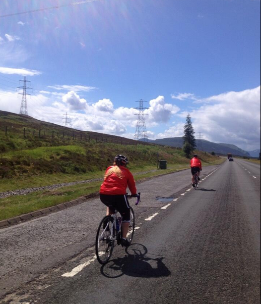 Day Two, and the sun is shining. Here's Rebecca and Dave from Fac n' Special on the long uphill drag to Faskally in Perthshire for the afternoon break.