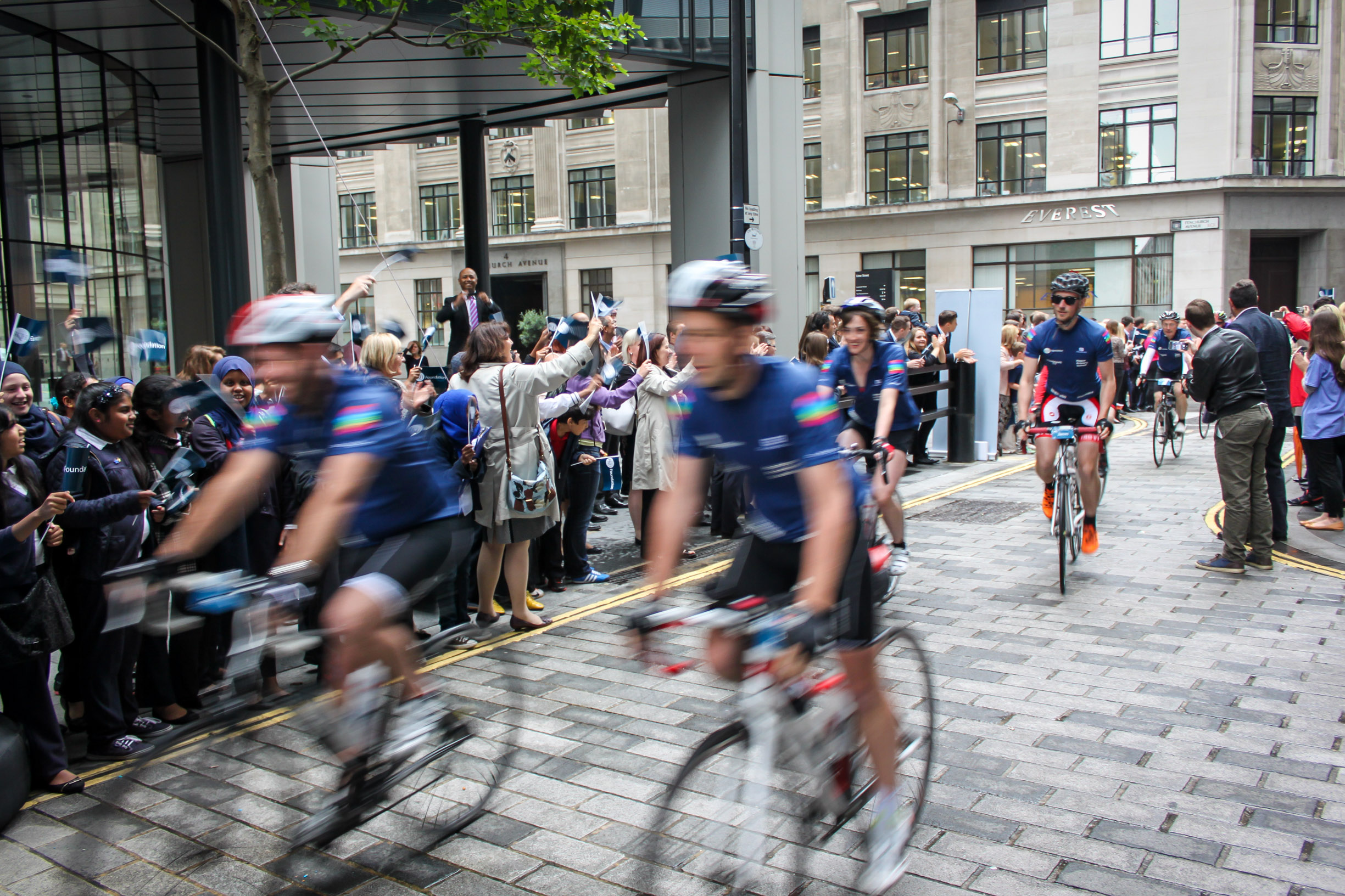 Crossing the finish line outside Lloyd's