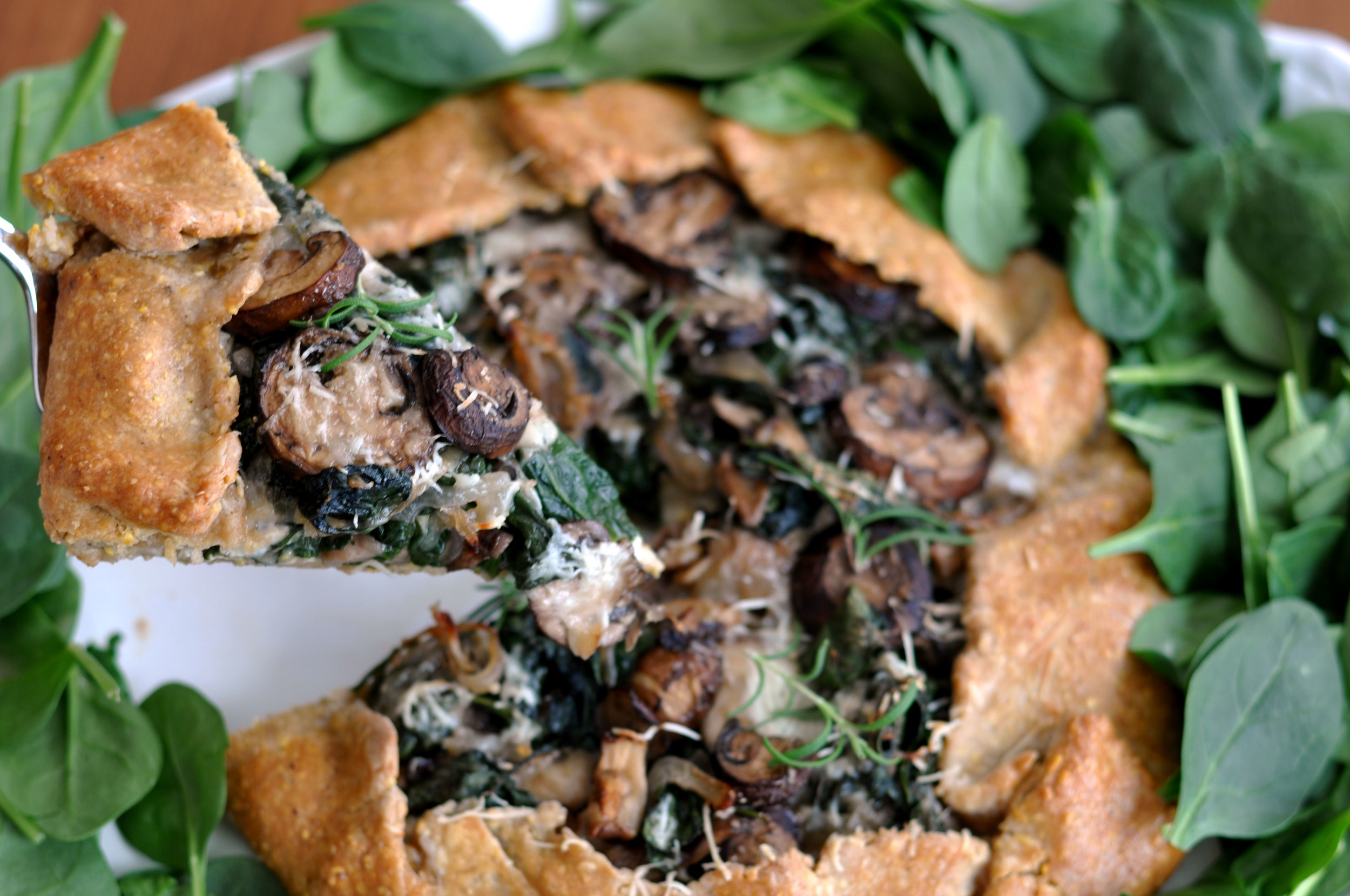 Spinach, Mushroom, & Mozzarella Galette | Shiny Happy Bright
