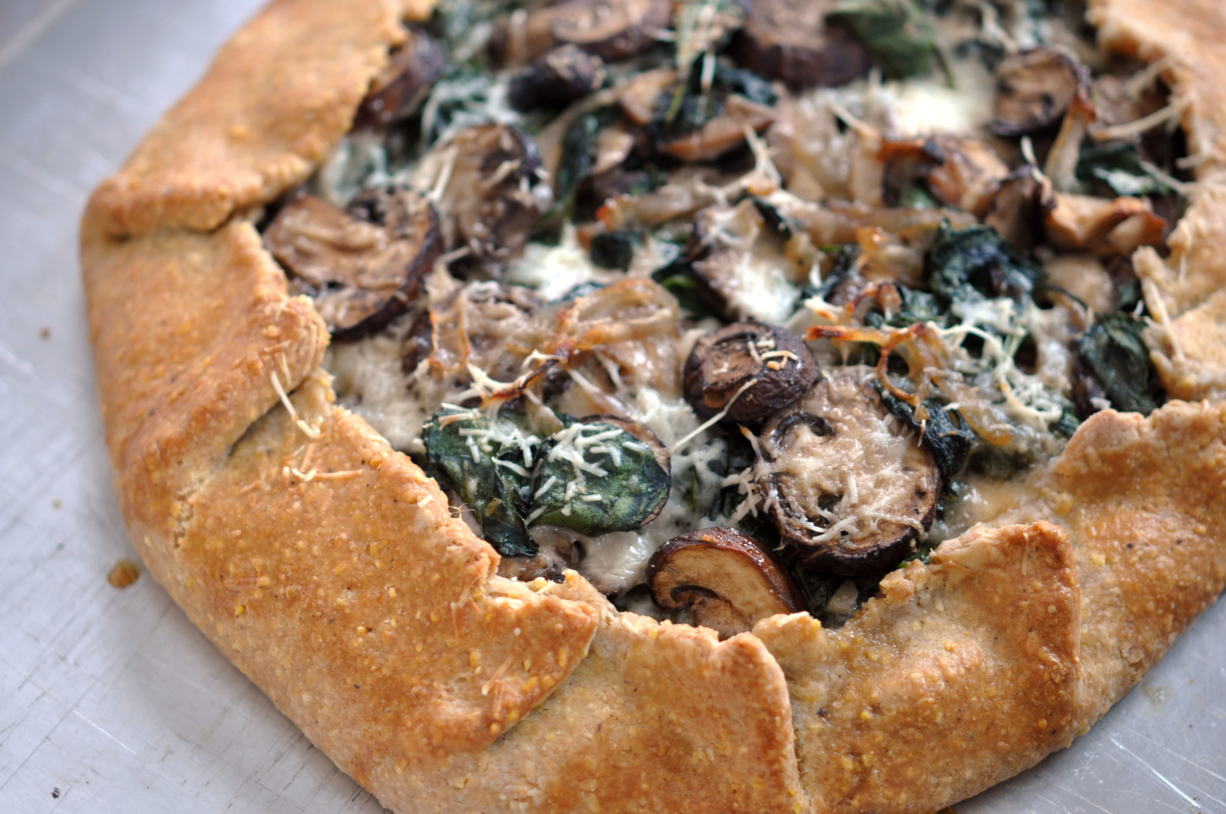 Spinach, Mushroom, Mozzarella Galette | Shiny Happy Bright