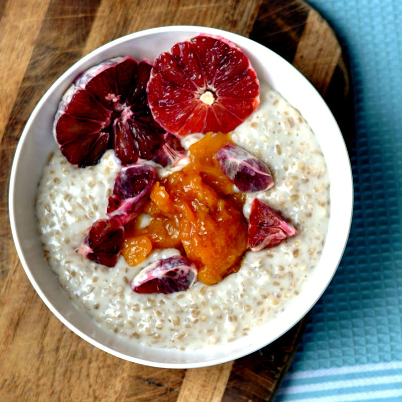 Almond Milk & Vanilla Steel Cut Oatmeal with a Peach Compote | Shiny Happy Bright