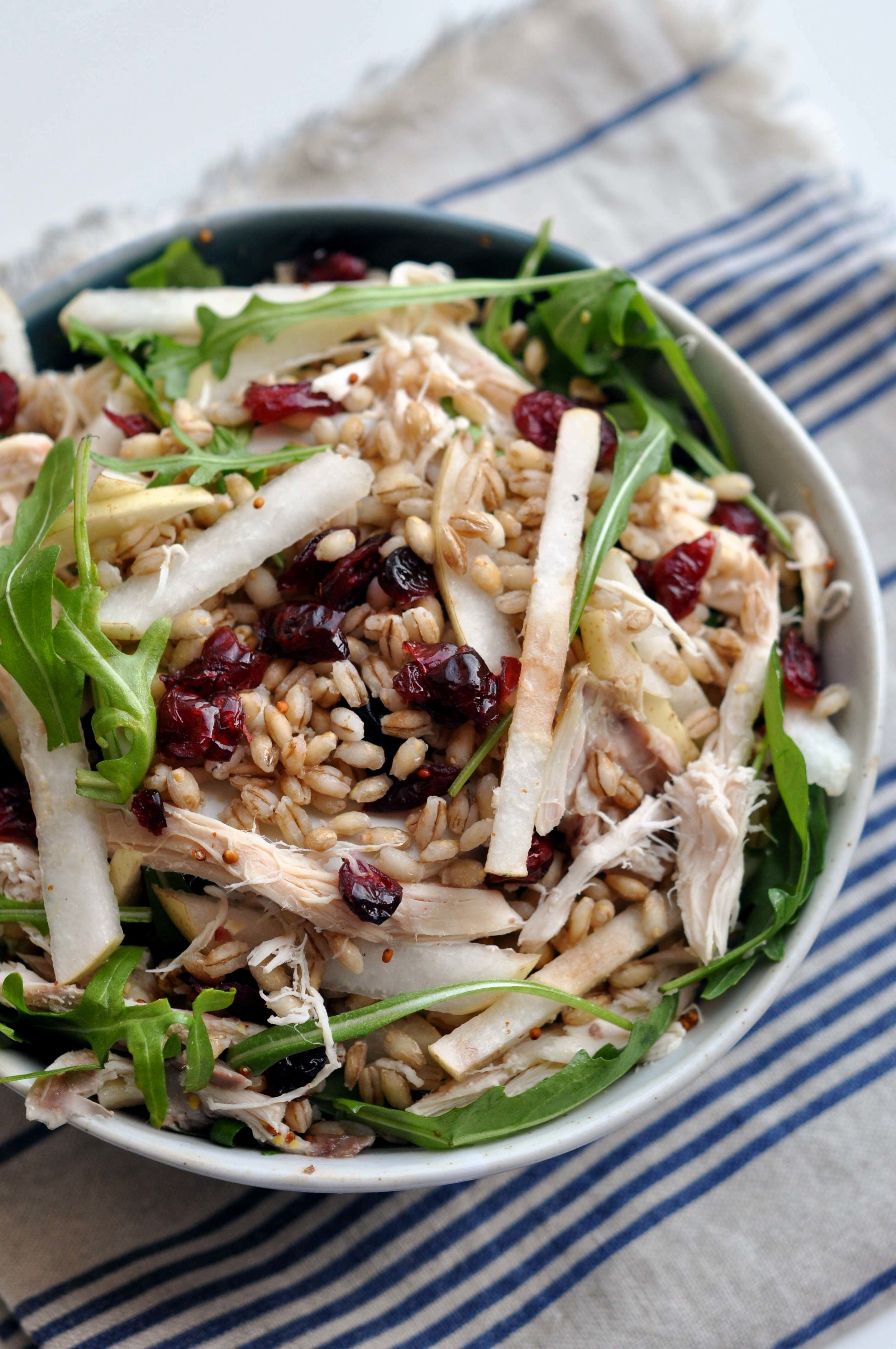 Chicken Bulgur Bowl with Arugula, Cranberries, and Pears - a healthy, easy lunch or dinner recipe.