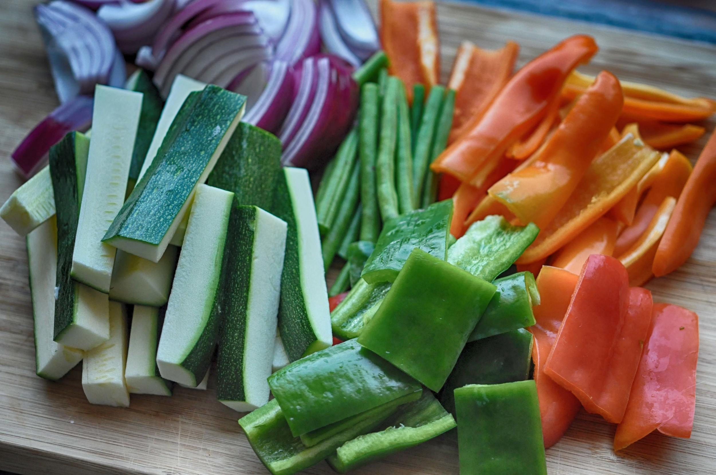 Cut Vegetables for Tempura Mix