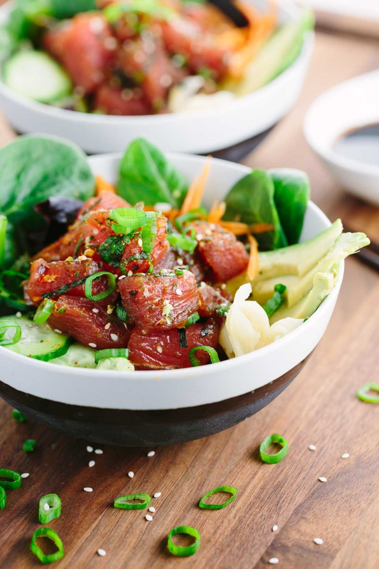 Ahi Tuna Poke Bowl from Jessica Gavin. Get the recipe here. - This recipe is fresh & Delicious - It's a perfect pescetarian lunch.