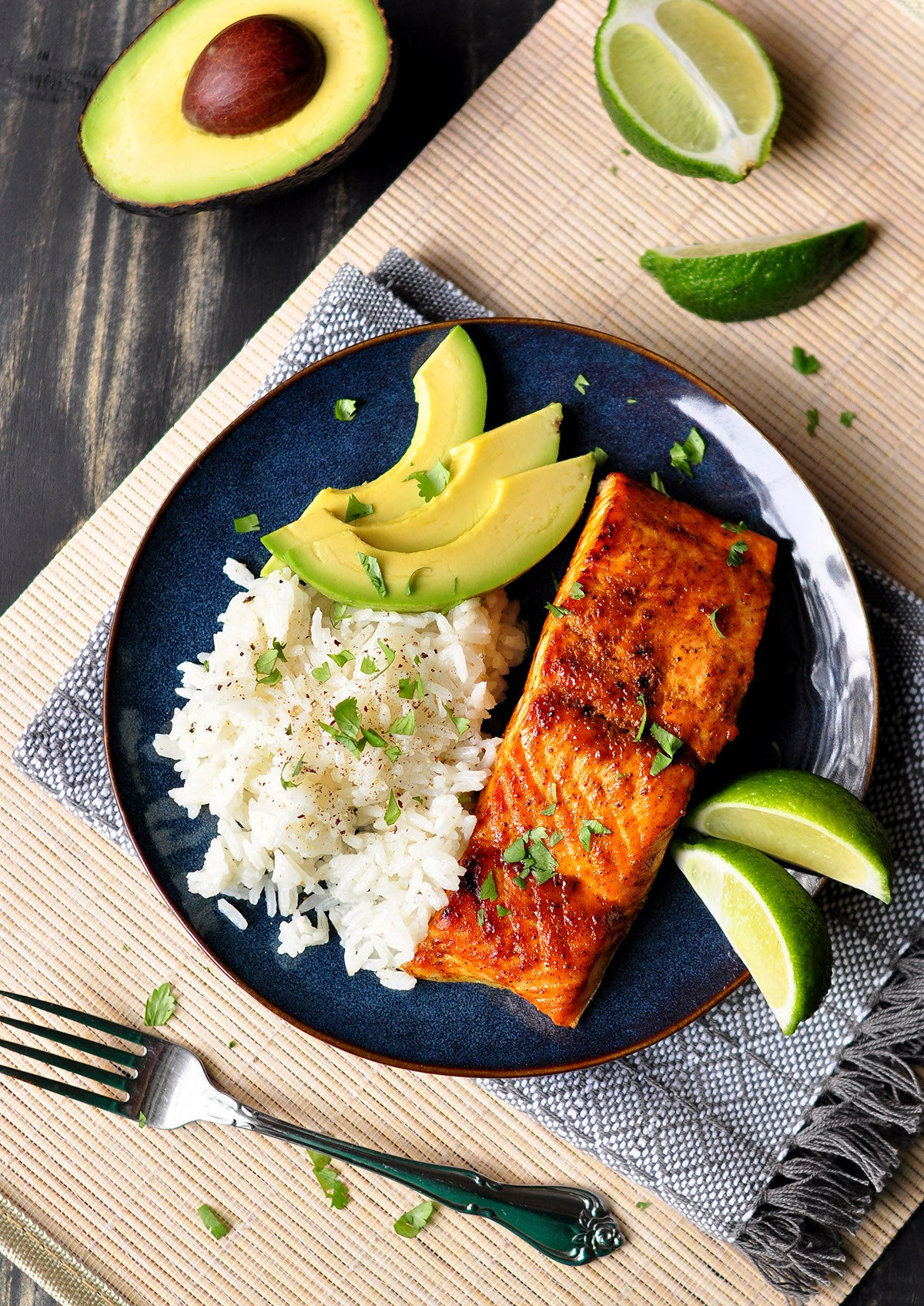 Glazed Salmon with Coconut Rice from Ease and Carrots. Get the recipe here. - You'll love the flavor combinations of this Recipe.