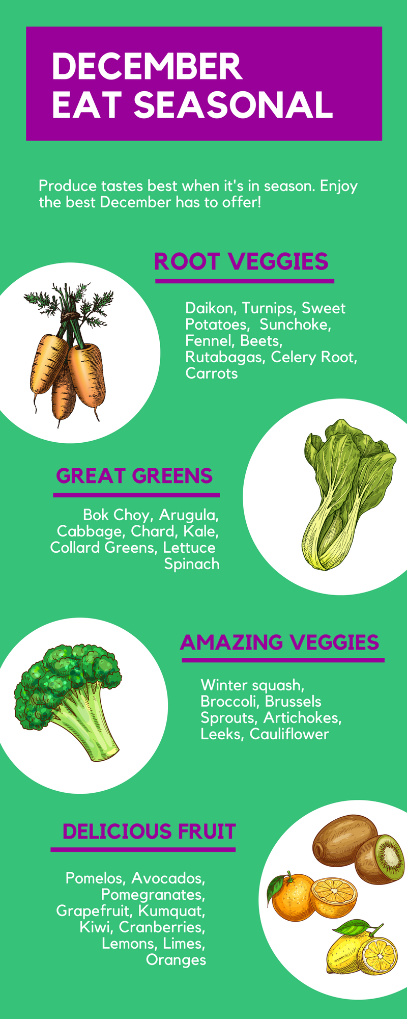 What's in Season in December? A handy guide to the fruit and vegetables that are in season in the month of December | This Healthy Table