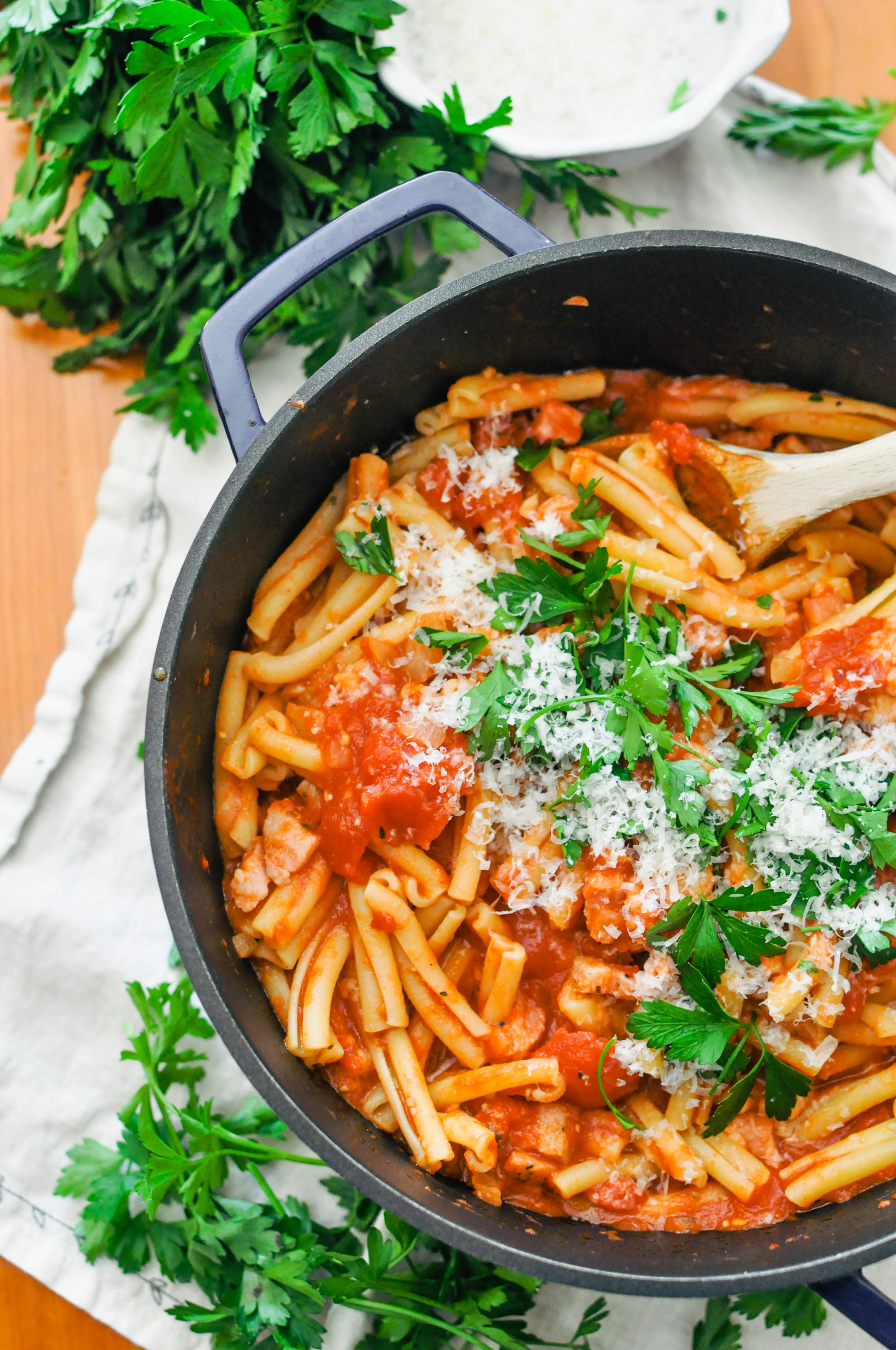 Pasta Alla Mosca - a quick, delicious weeknight meal from This Healthy Table #pasta #dinner #tomatoes