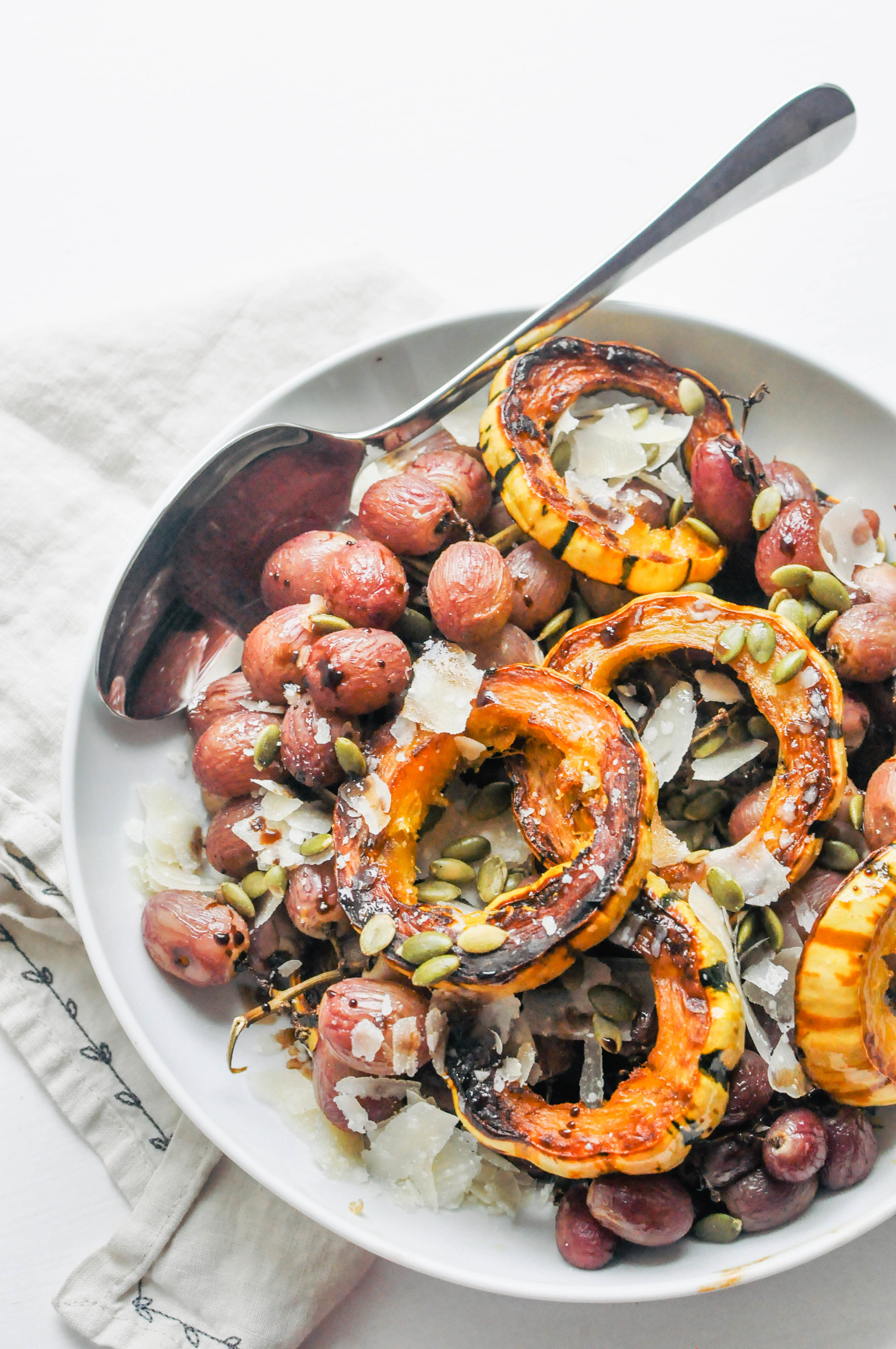 Roasted Squash & Grapes. A delicious side dish for the holidays | This Healthy Table