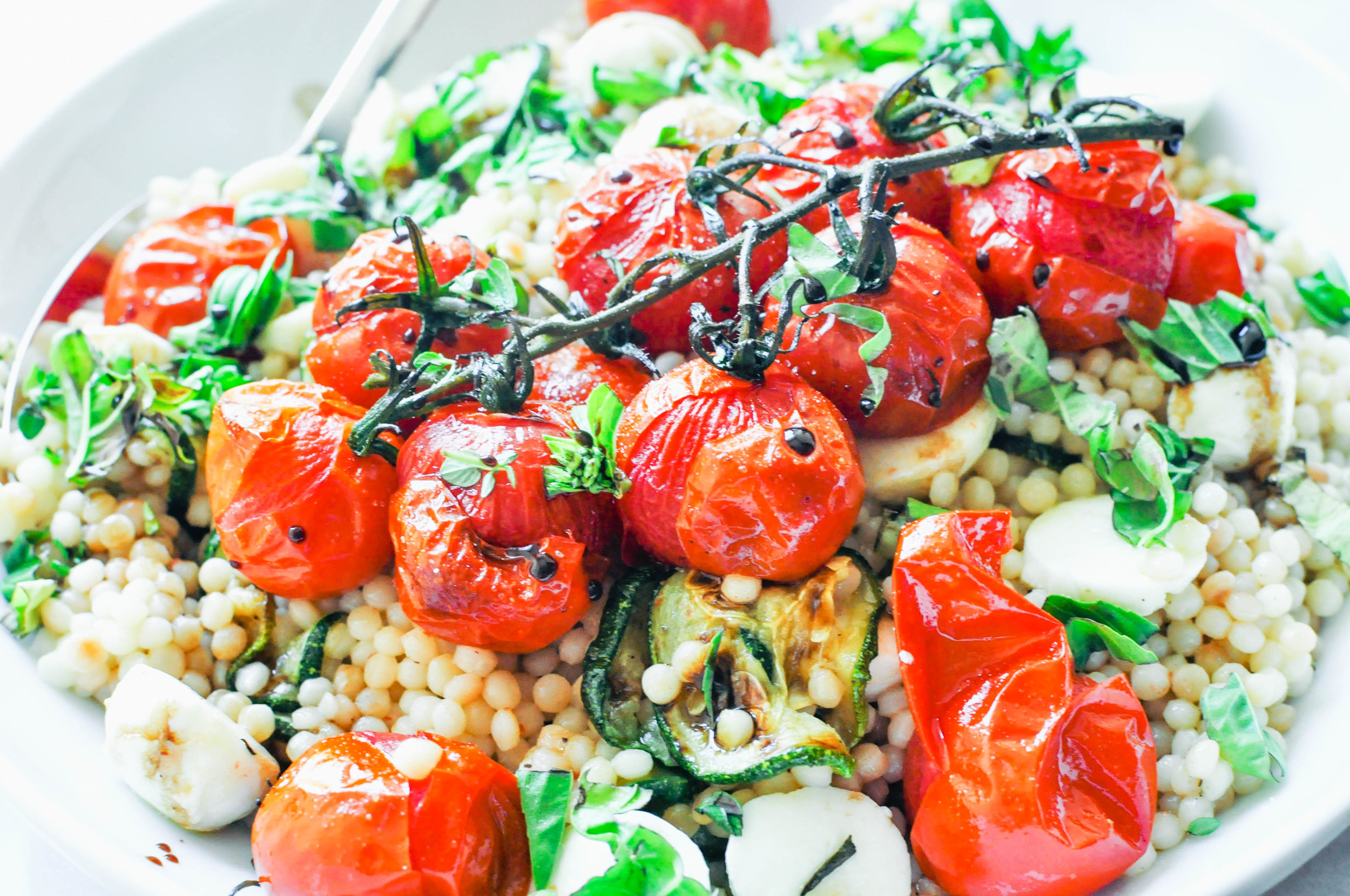 Israeli Couscous Salad with Zucchini, Mozzarella, and Tomatoes | This Healthy Table
