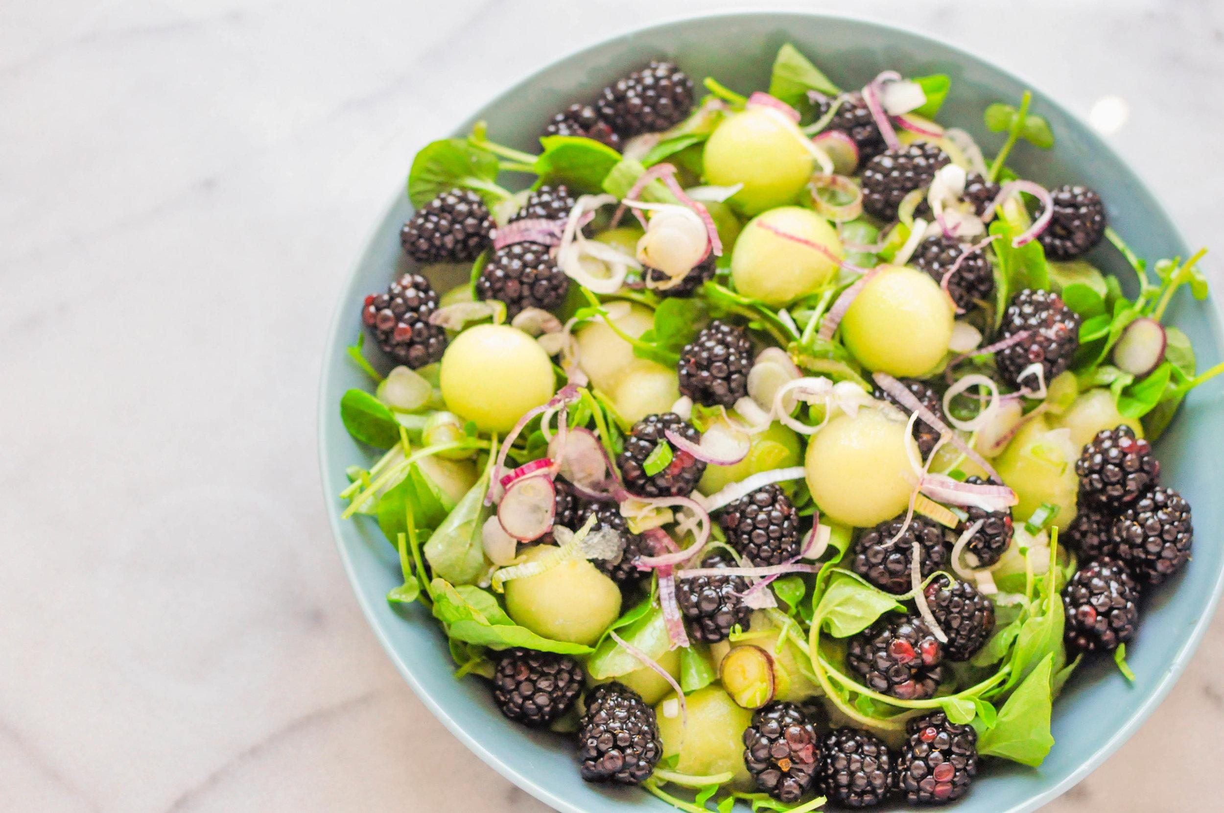 Vegan Honeydew Melon & Blackberry Salad (summer salad, vegetarian, gluten free, healthy) | This Healthy Table