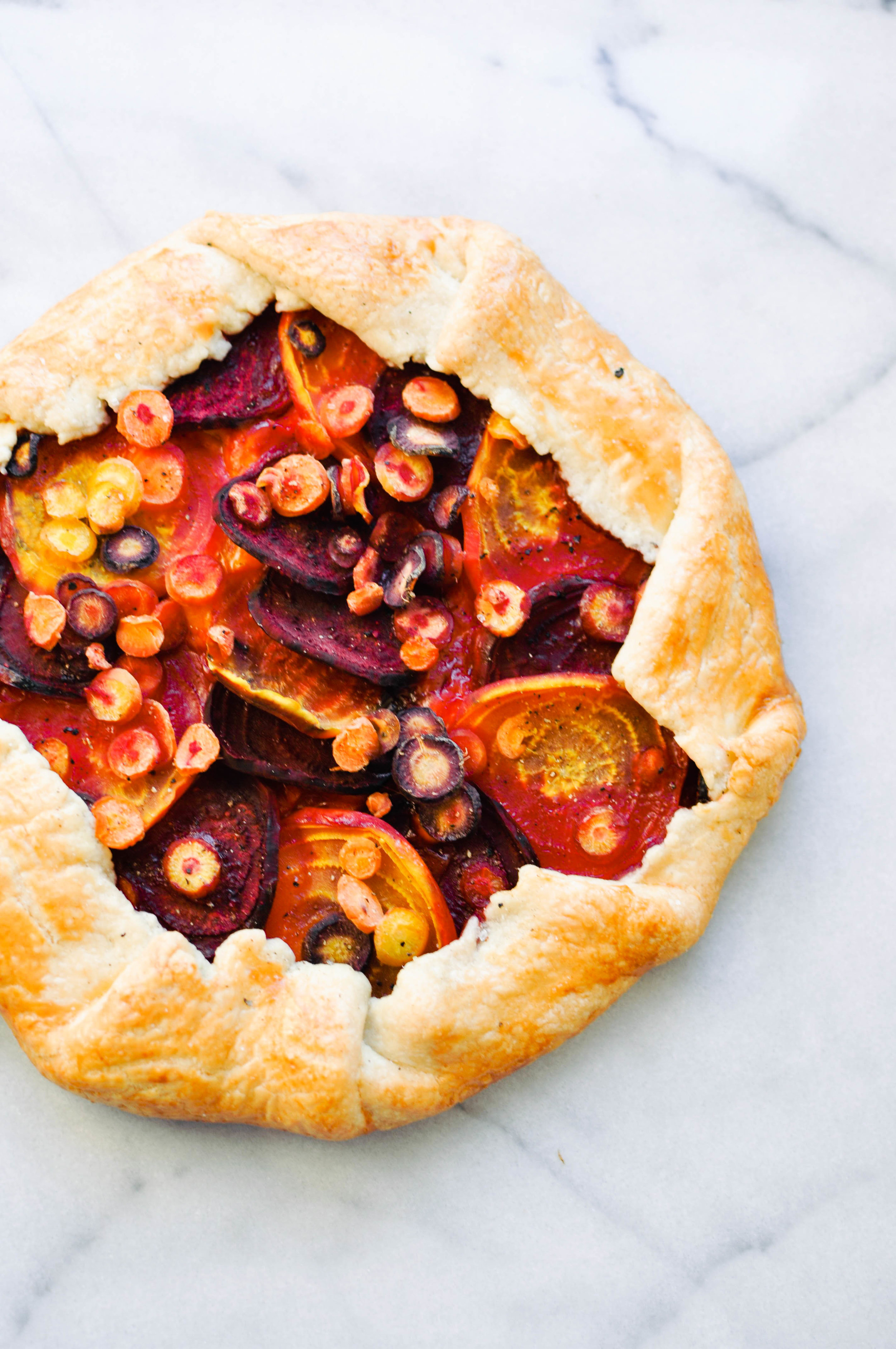 Beet and Carrot Galette with Gouda. A delicious, vegetarian dinner | This Healthy Table