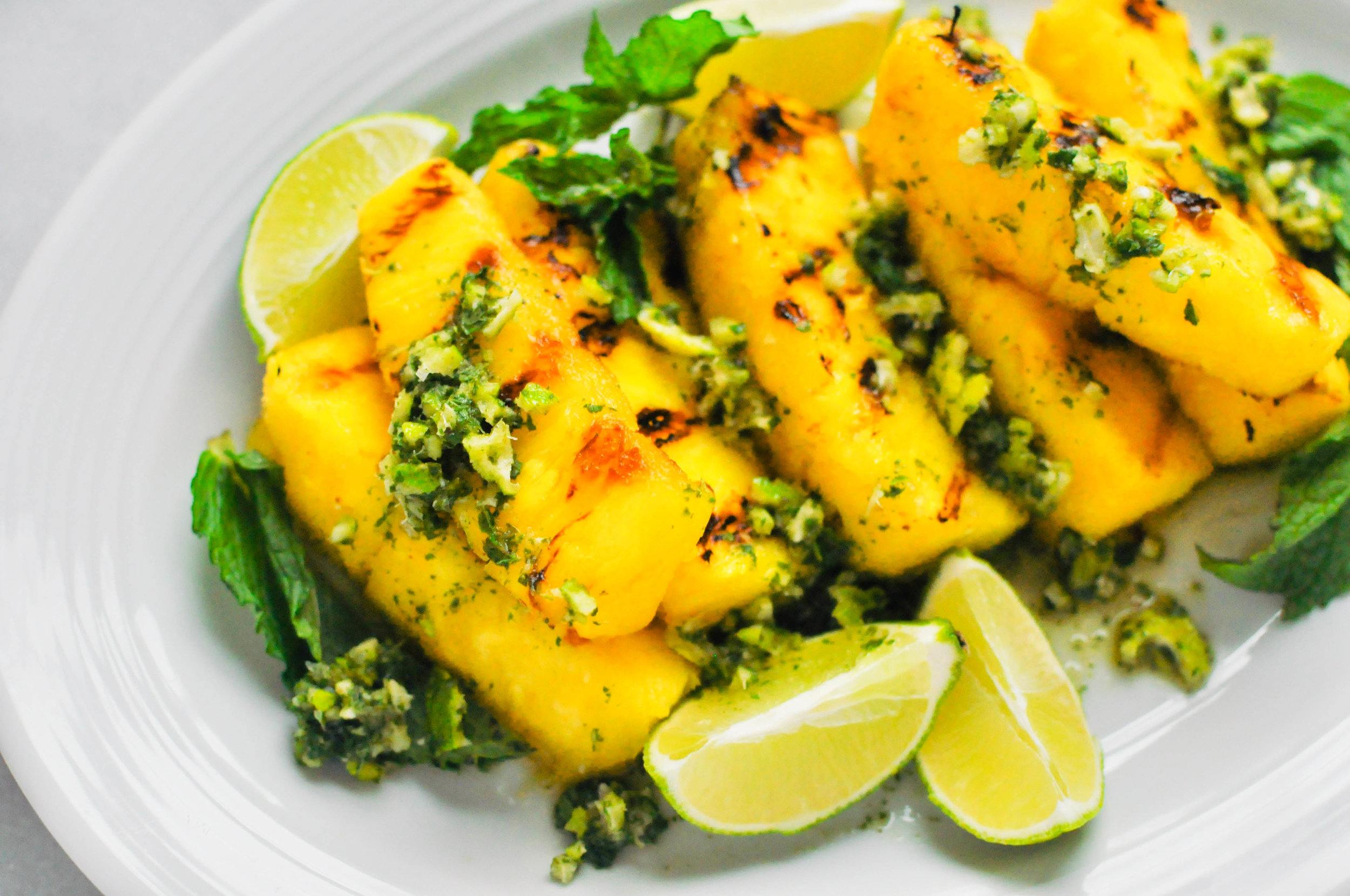 Grilled Pineapple with Lime Mint Sauce | This Healthy Table