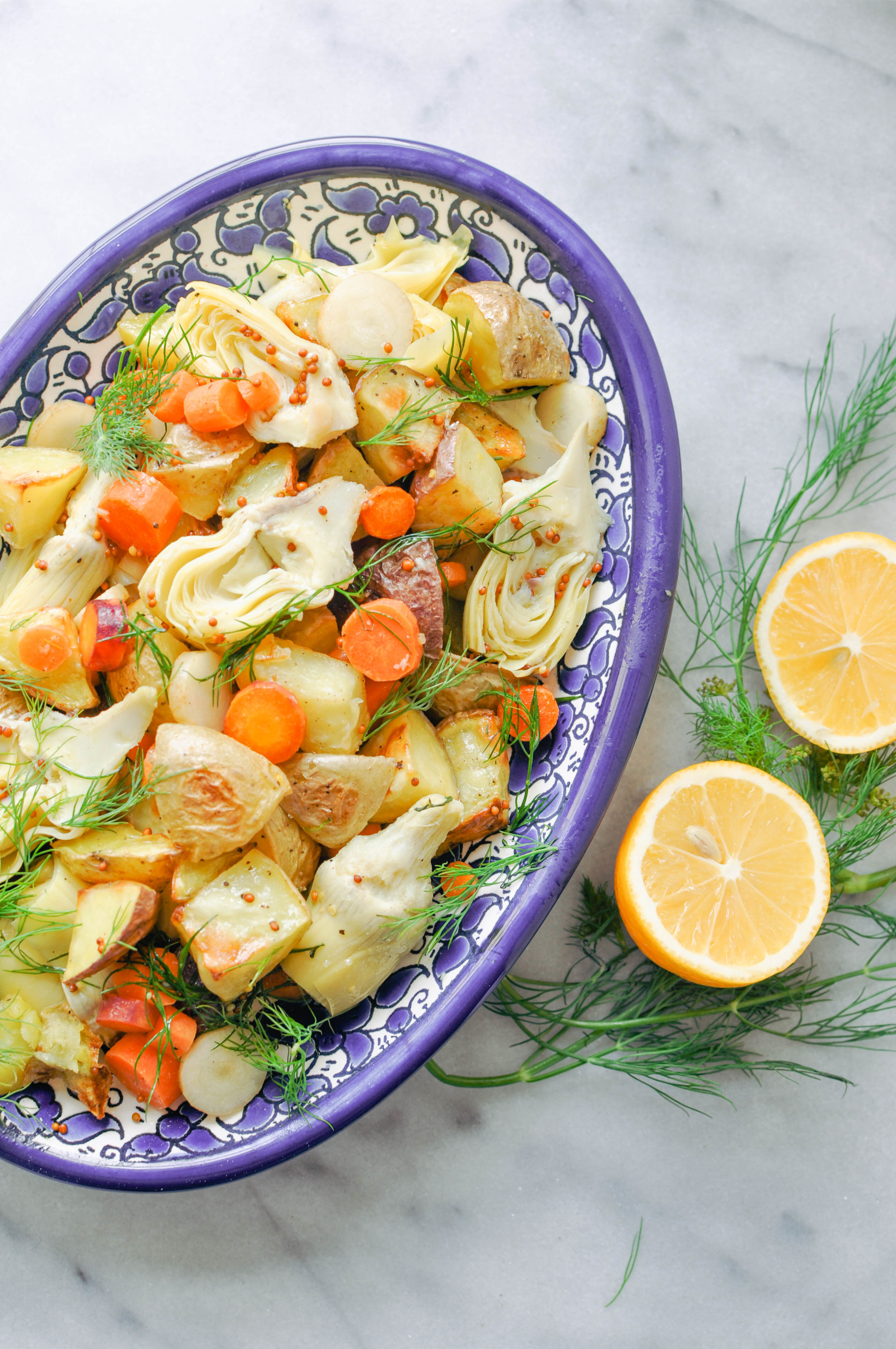 Artichoke Potato Salad with Carrots & Dill. Beautiful spring flavors. (vegan, vegetarian, whole 30)   This Healthy Table