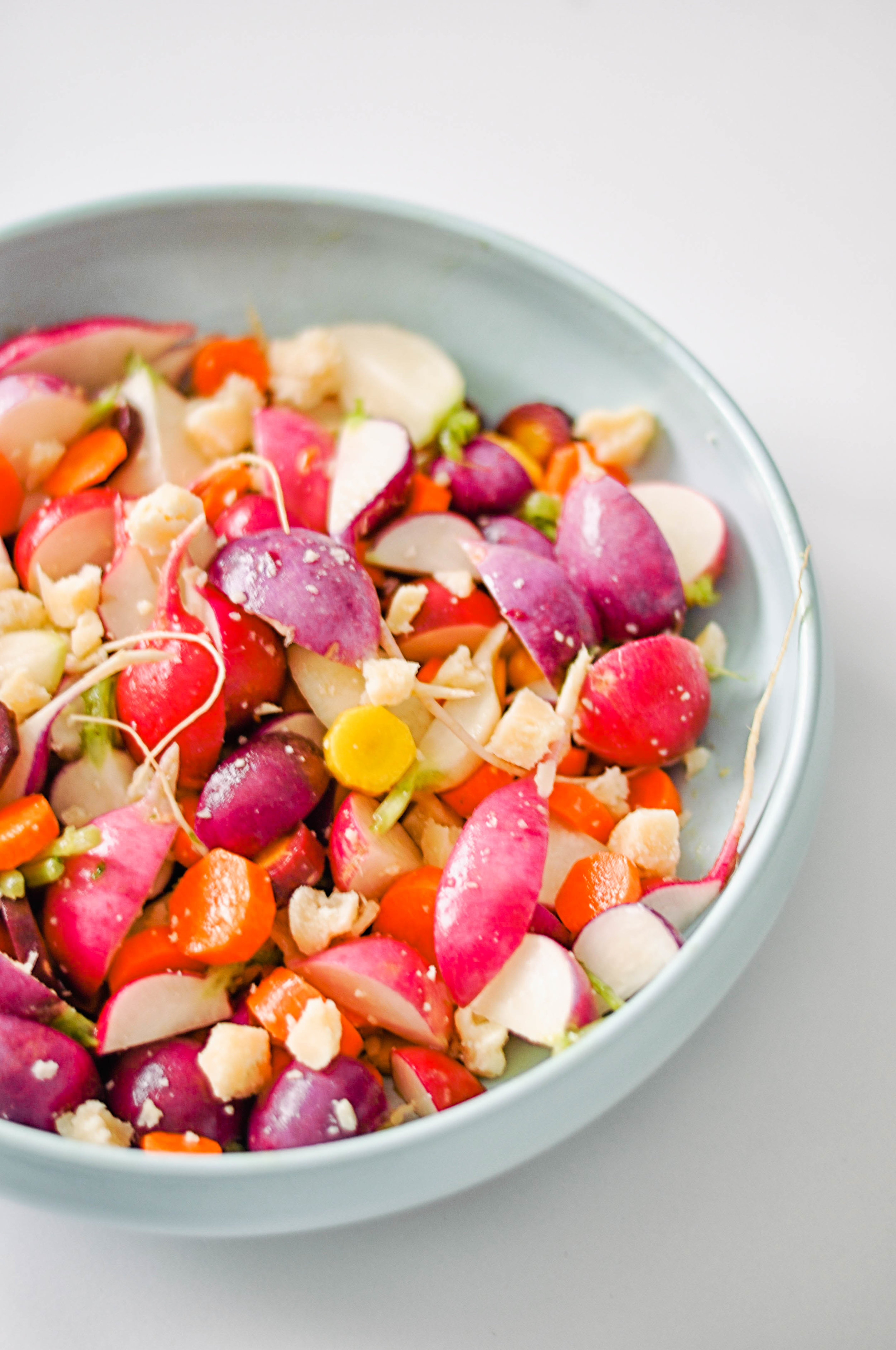 Radish and carrot salad with parmesan - a simple, vegetarian salad with fresh ingredients | This Healthy Table