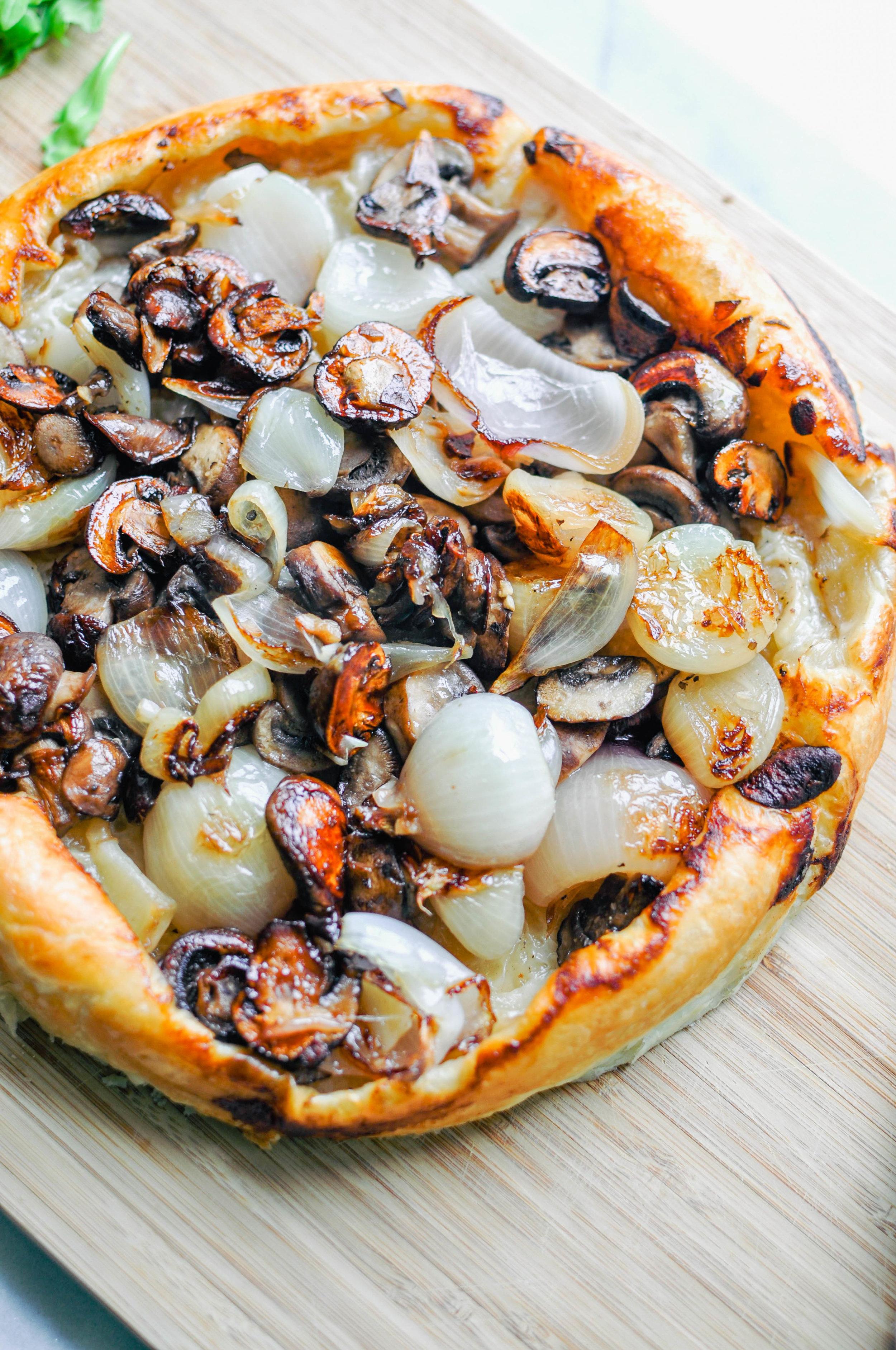 Shallot & Mushroom Tarte Tatin with Burrata | This Healthy Table