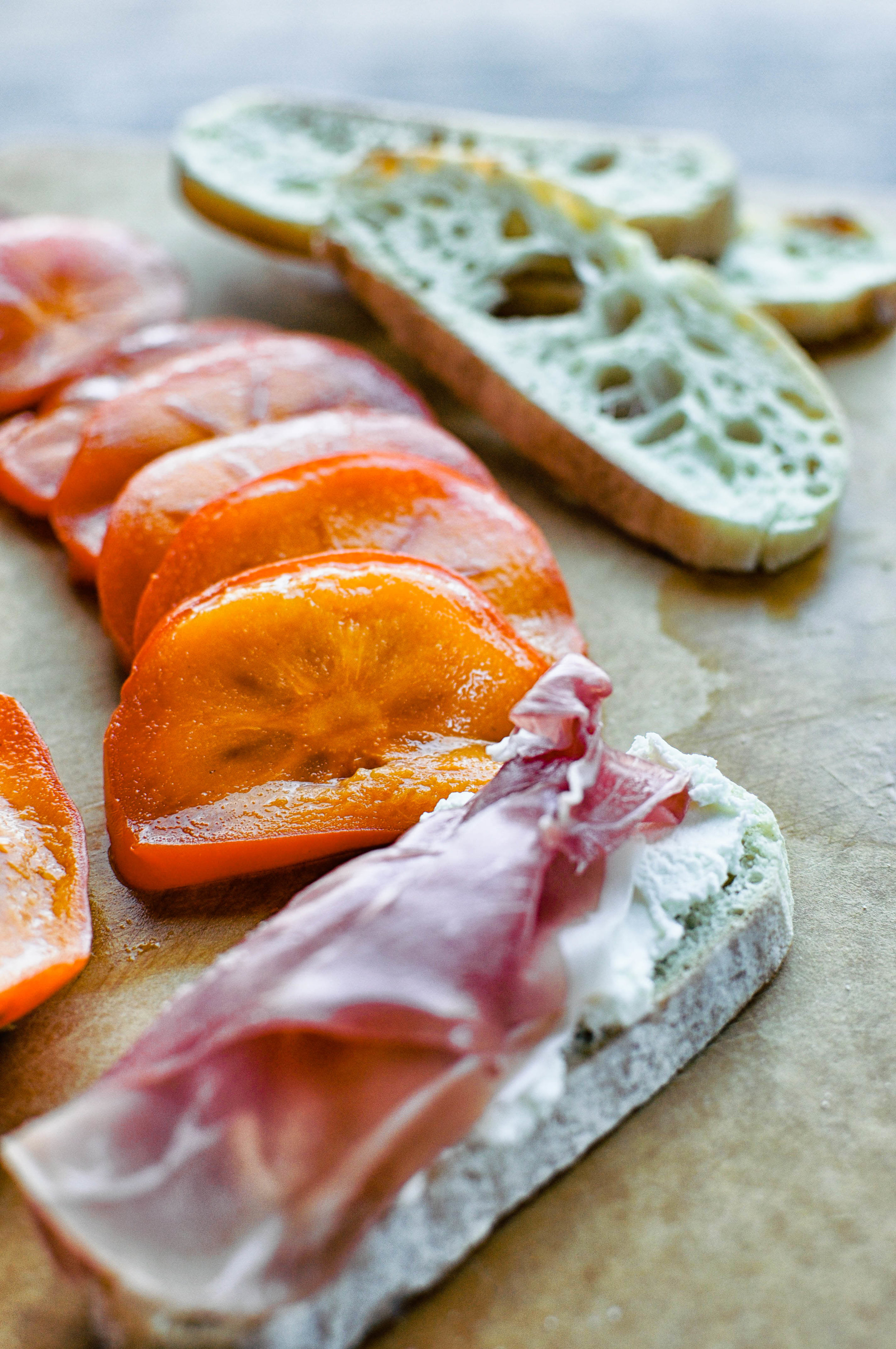 Persimmon Prosciutto Crostinis with Ricotta & Thyme | This Healthy Table