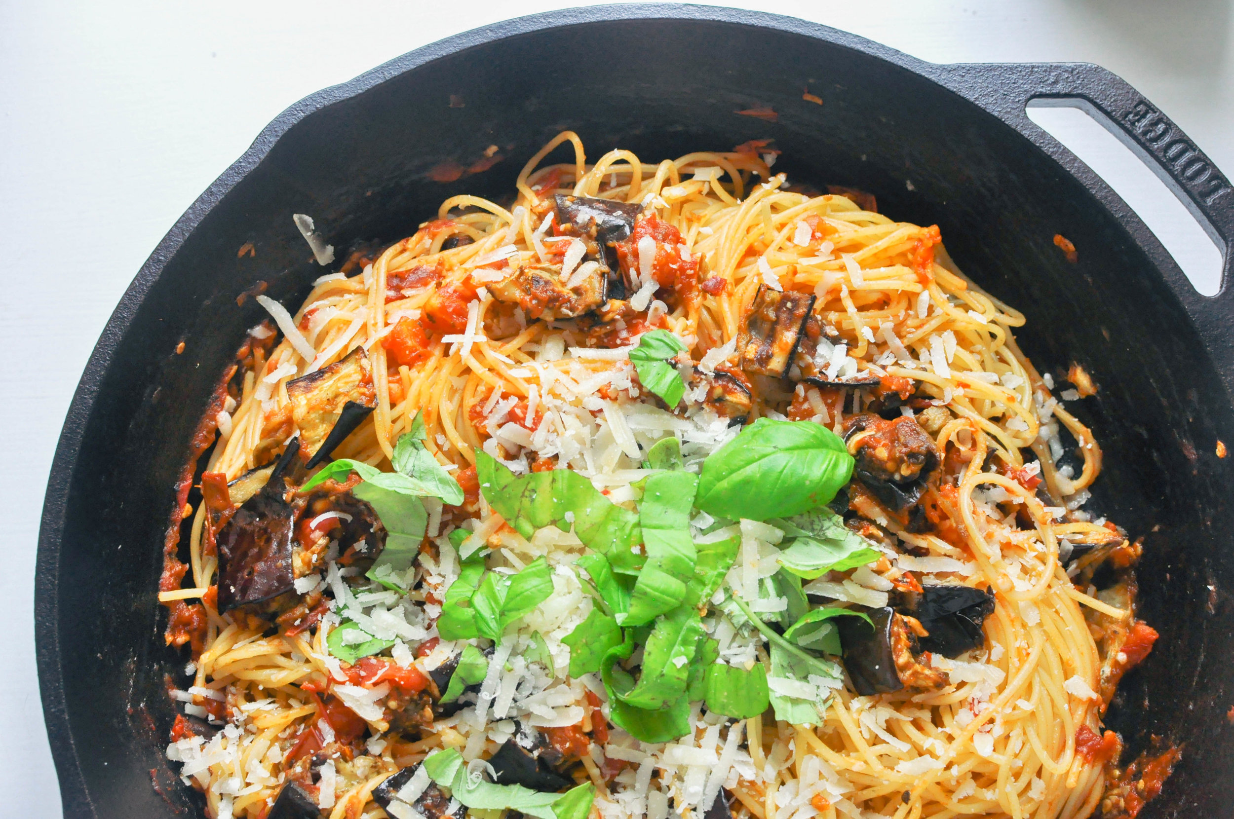 Pasta All Norma - a Sicilian pasta dish with eggplants, tomatoes, cheese and basil. A hearty, vegetarian recipe | This Healthy Table