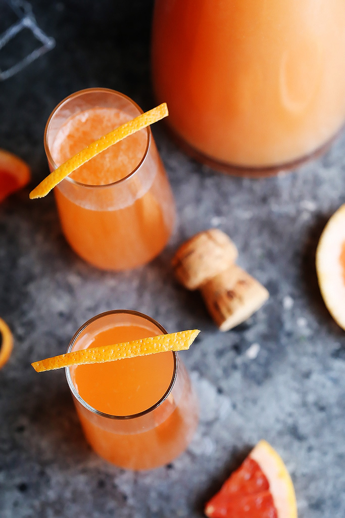 Grapefruit Aperol Sparkling Cocktails from Platings and Pairings. Get the recipe here. -