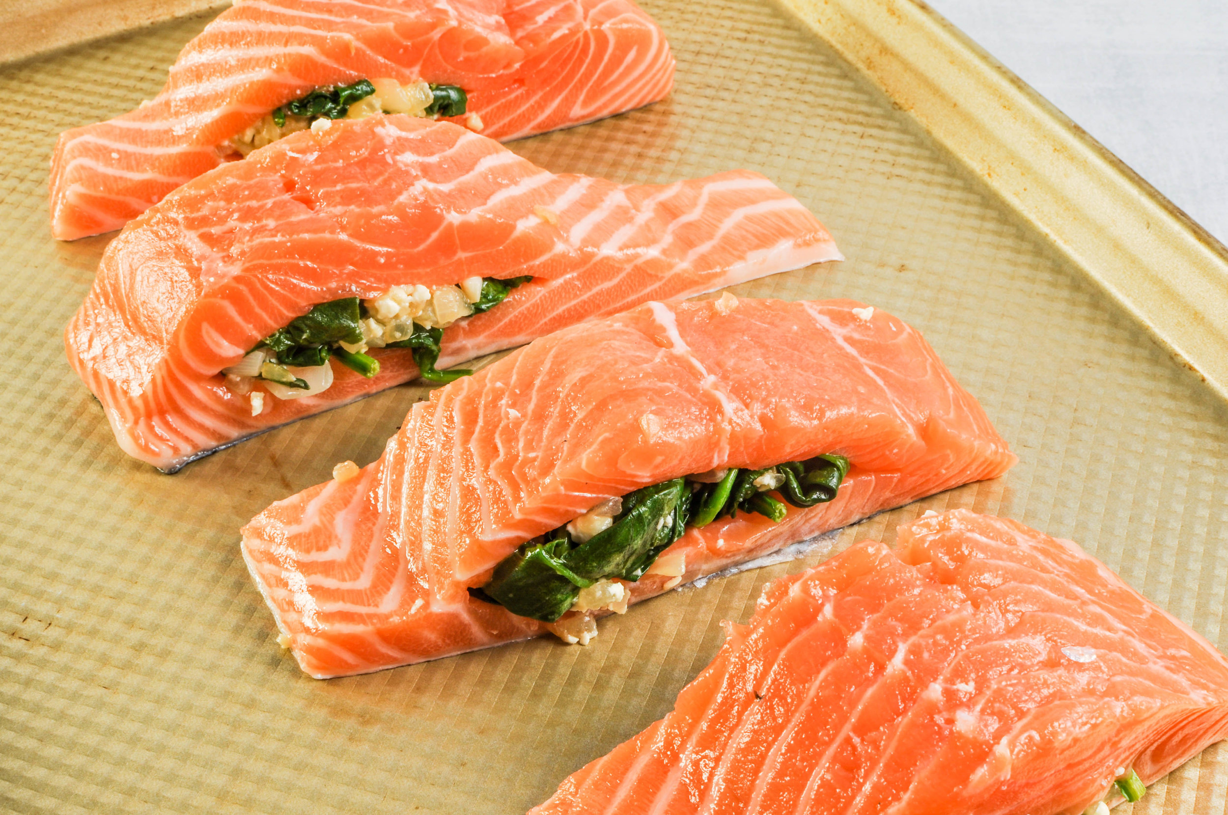 Spinach & Feta Stuffed Salmon