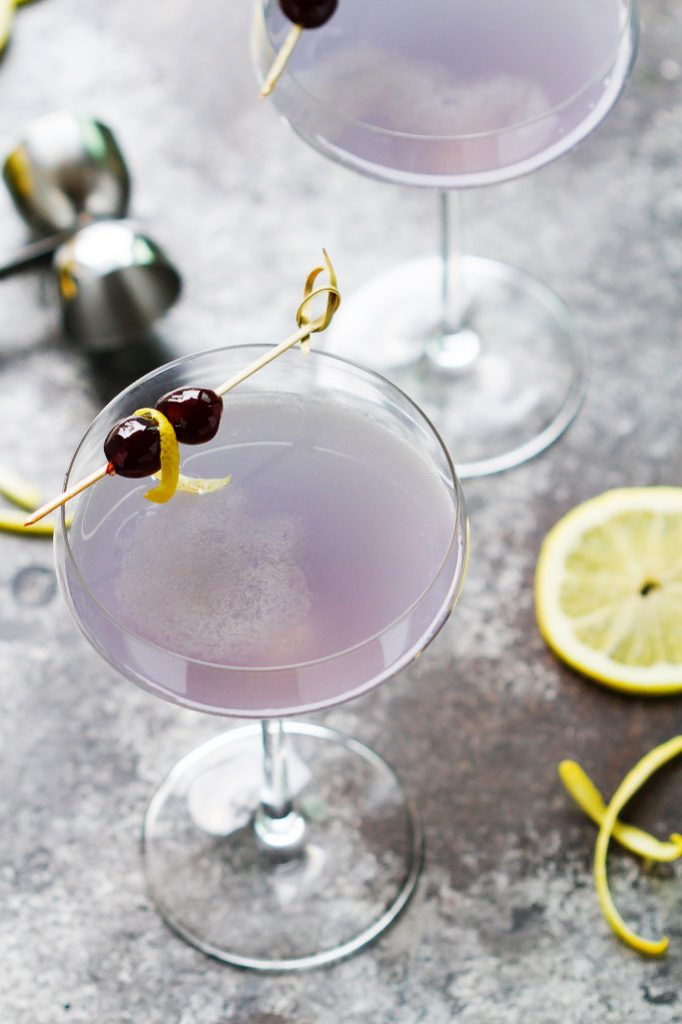 Aviation Gin Cocktail from Platings + Pairings - The Aviation Gin Cocktail combines crème de violette, maraschino cherry liqueur and a bit of lemon juice for a perfectly sweet and tart cocktail that's as pretty as it is delicious.