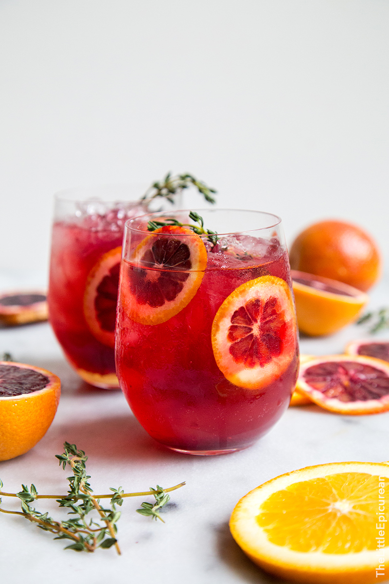 Blood Orange Elderflower Gin Cocktail from The Little Epicurean - The refreshing elderflower gin cocktail gets a pop of color and flavor from the addition of blood orange juice.