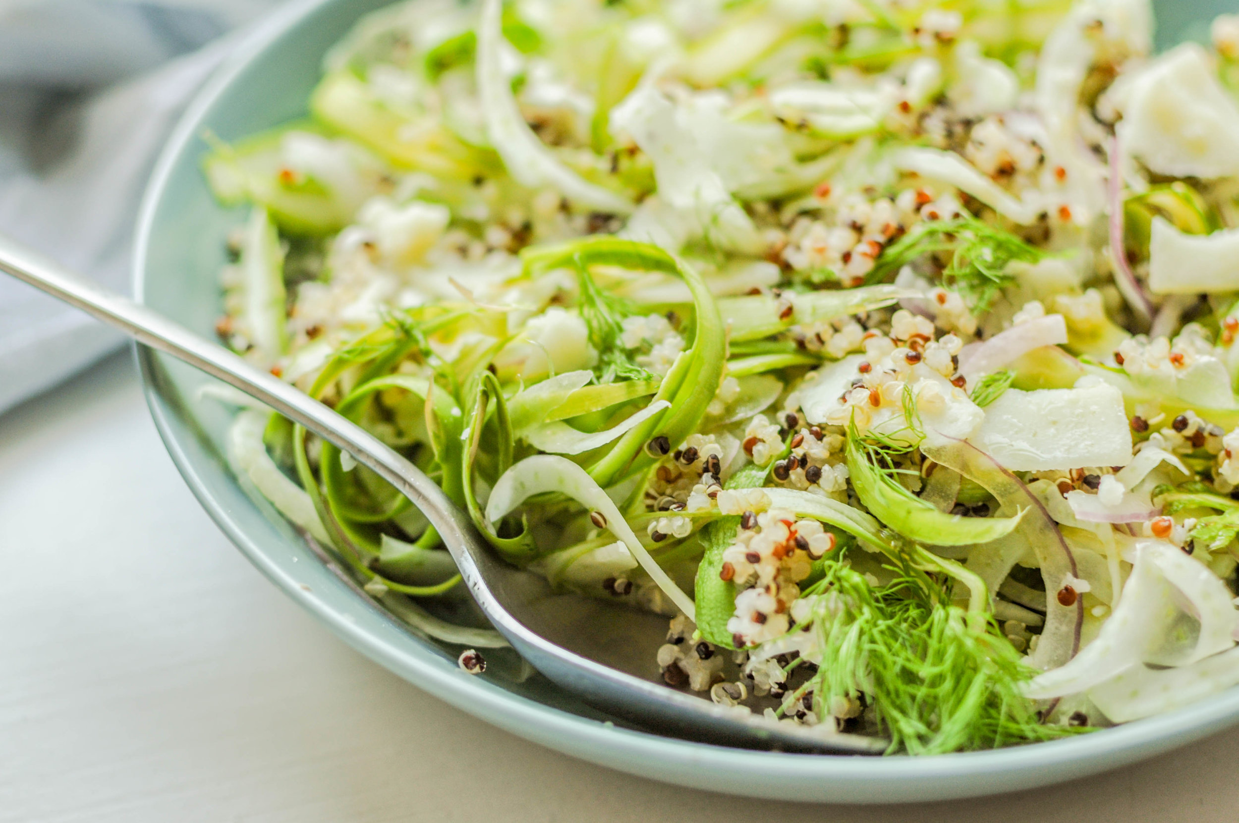 Shaved Fennel & Asparagus Quinoa Salad with Manchego and a Zesty Lemon Dressing.
