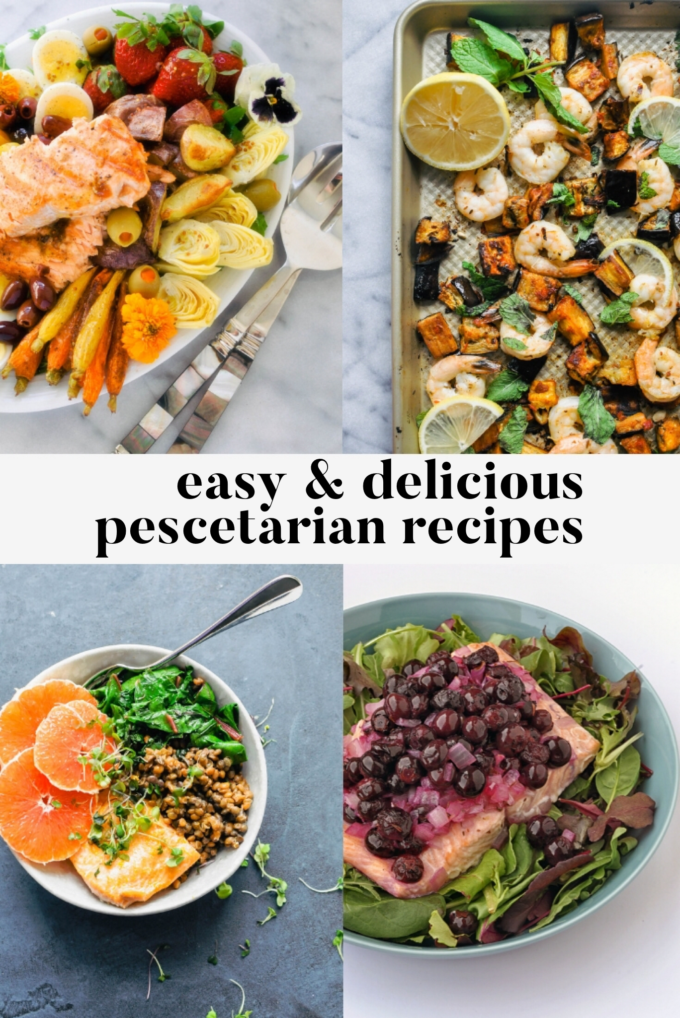 Easy & Delicious Pescetarian Recipes! If you're looking for a few new fish or seafood recipes, then this list of recipes from some of my favorite food bloggers is perfect for you! There are, of course, a bunch of salmon recipes, but I'm also featuring tuna, shrimp, sea bass, tilapia, and halibut recipes.