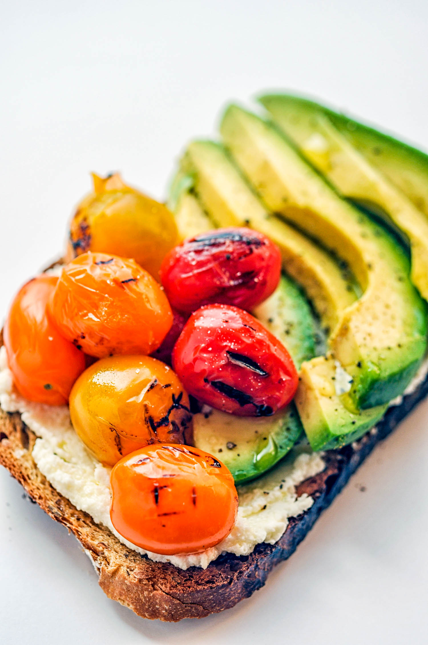 Ricotta Toast - Two Ways: Grilled Tomato & Avocado + Blueberries & Honey - A delicious, healthy breakfast or snack