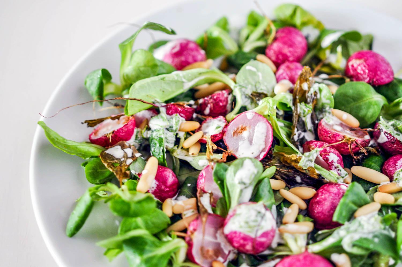 Roasted Radish Salad with Crème Fraîche Dressing