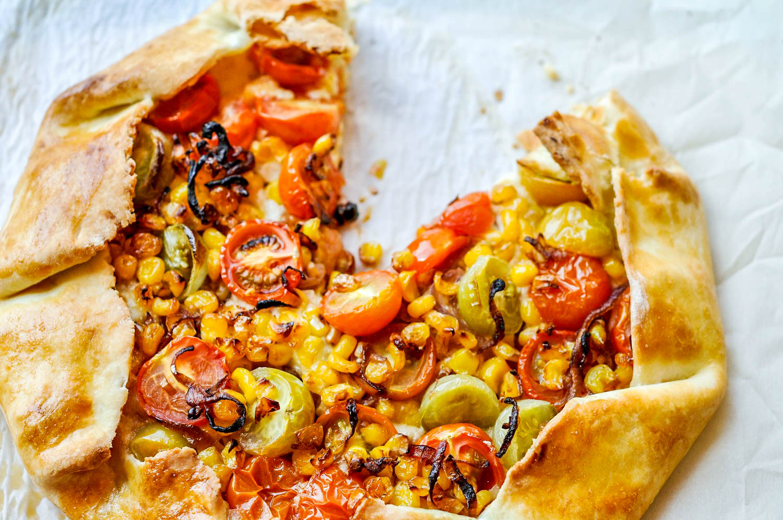 Tomato, Mozzarella, & Corn Galette - a delicious vegetarian recipe perfect for spring or summer picnics and meals.